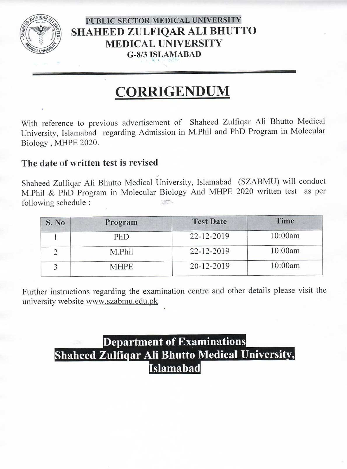 Corrigendum of admission test of M.Phil & PhD in Molecular Biology and MHPE 2020