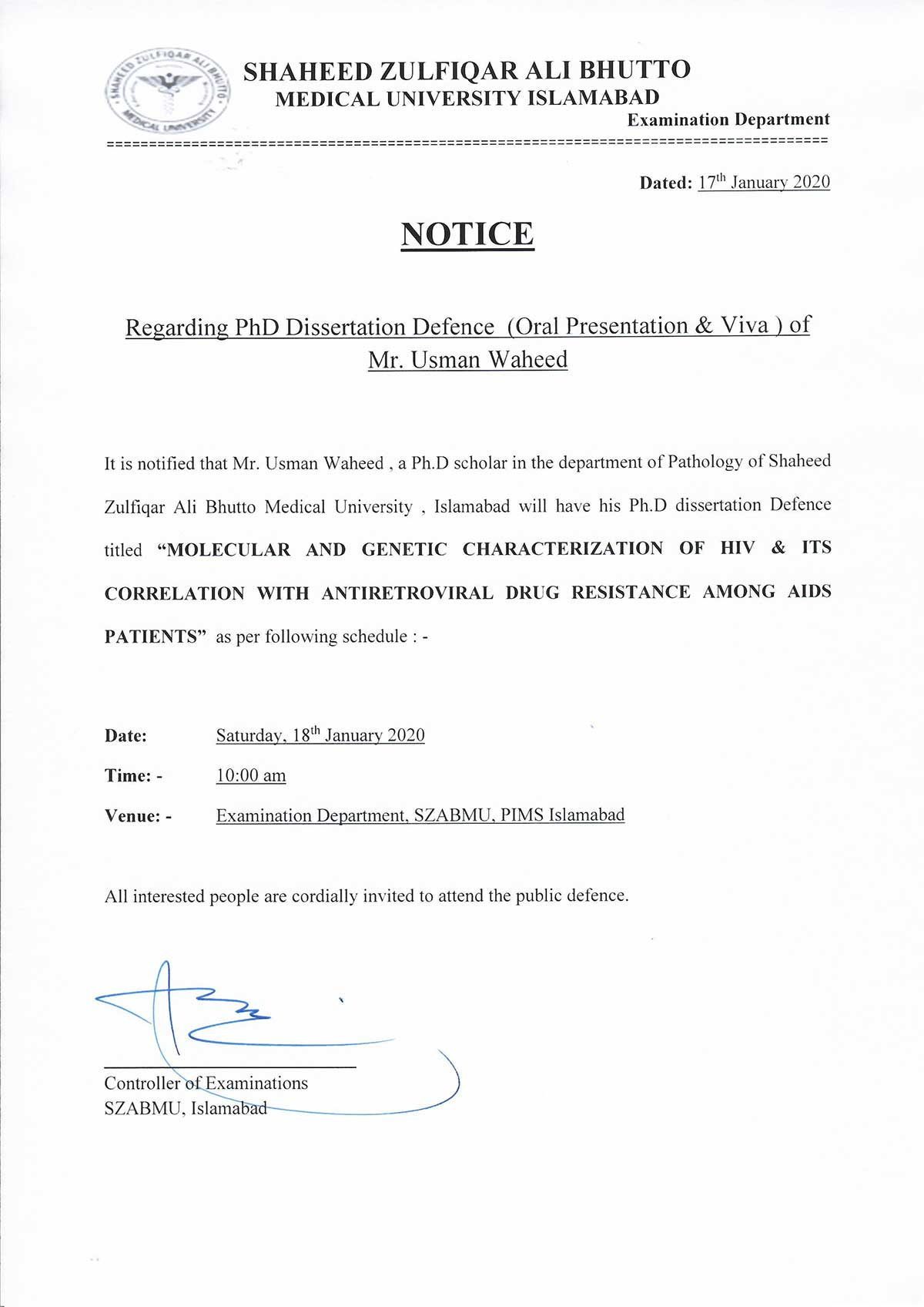 Notification of Ph.D Defence of Thesis