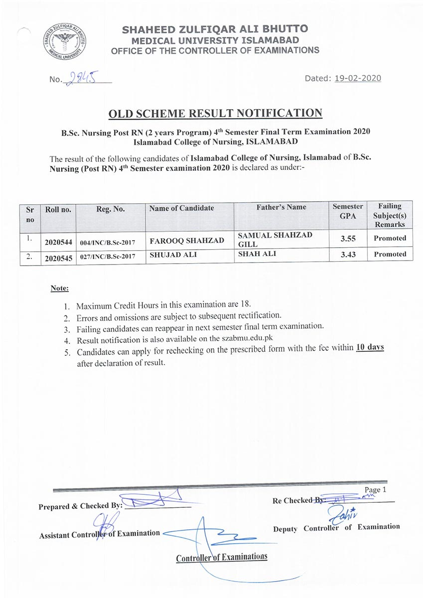 Result Notification - B.Sc. Nursing Post RN 4th Semester Old Scheme of Islamabad College of Nursing