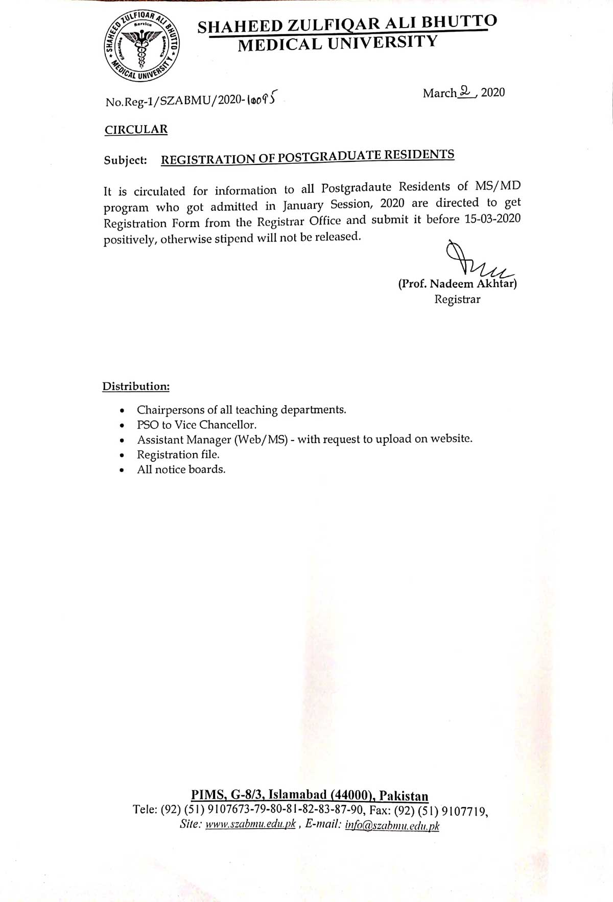 Registration of Postgraduate Residents of MS/MD/MDS for Session January, 2020