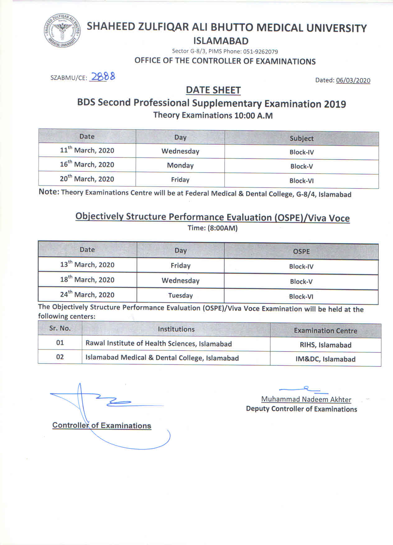 Date Sheet - BDS Supplementary Examination 2019