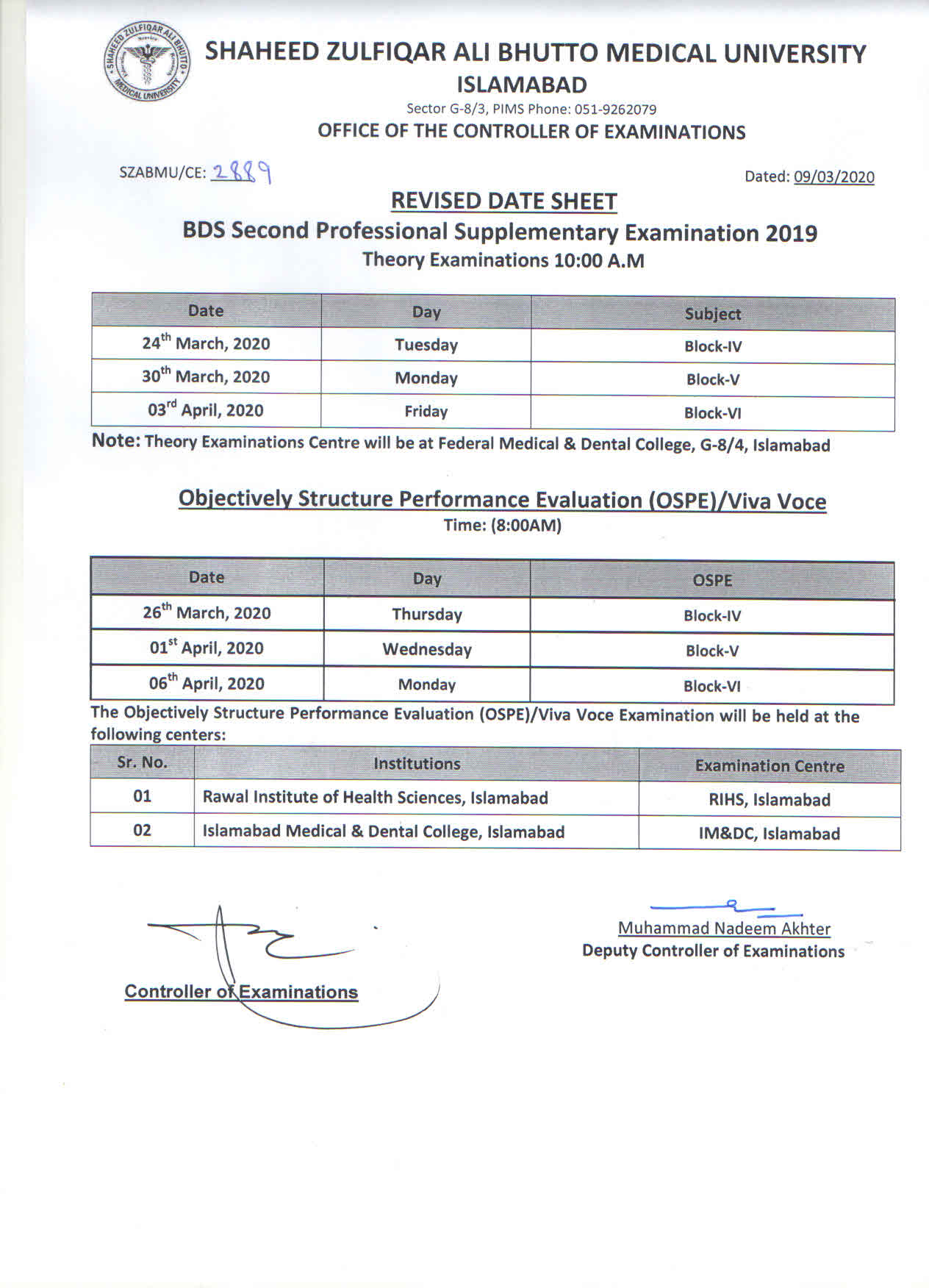 Revised Date Sheet - BDS Second professional supplementary examinations 2019
