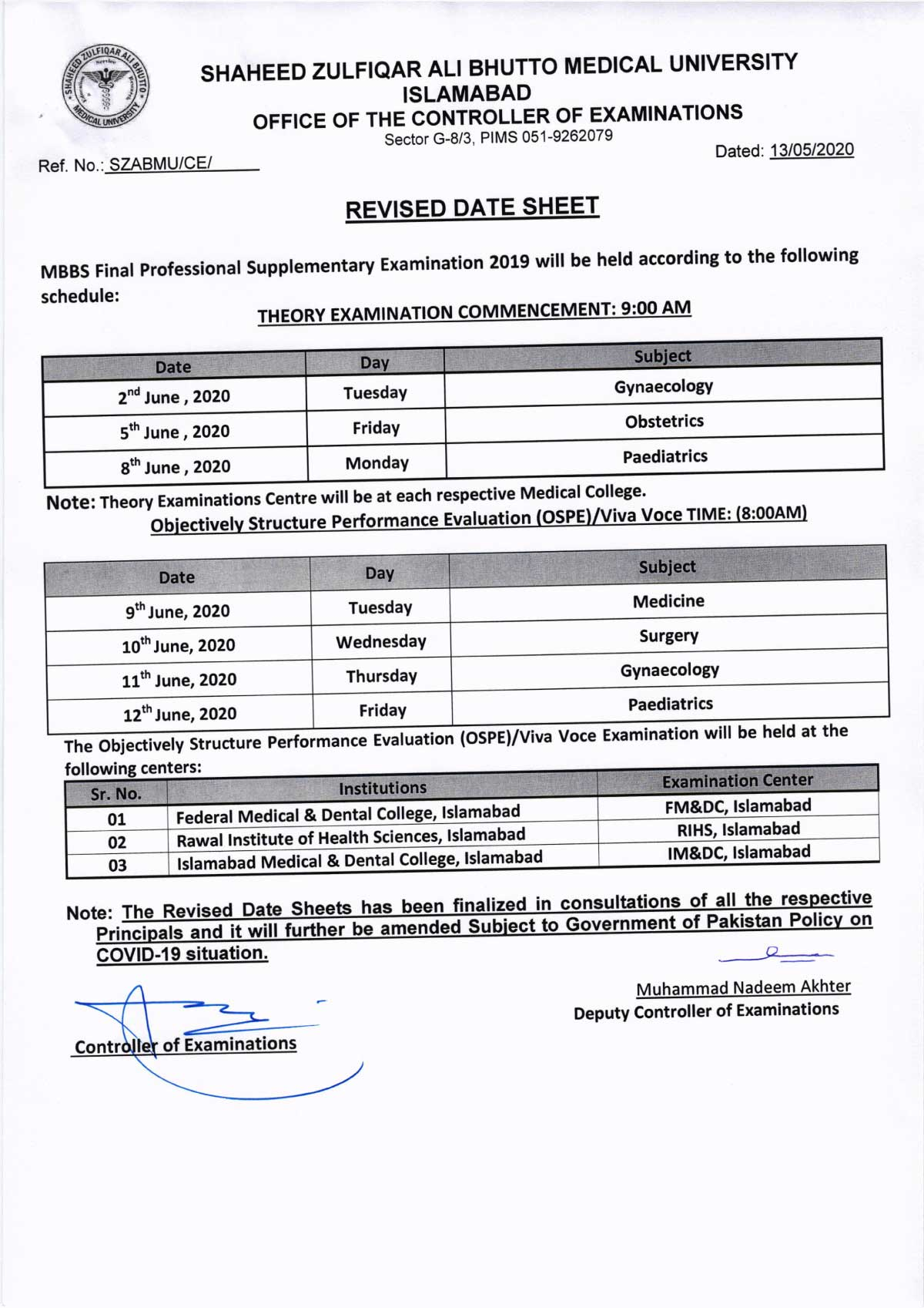 Revised - Date Sheet of MBBS All Professionals Supplementary Examination 2020