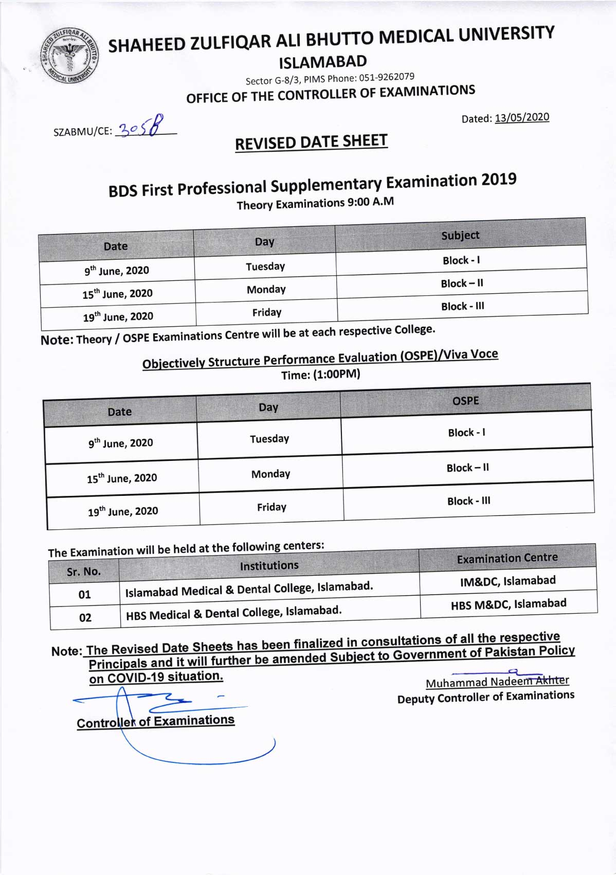 Revised - Date Sheet of BDS All Professionals Supplementary Examination 2020