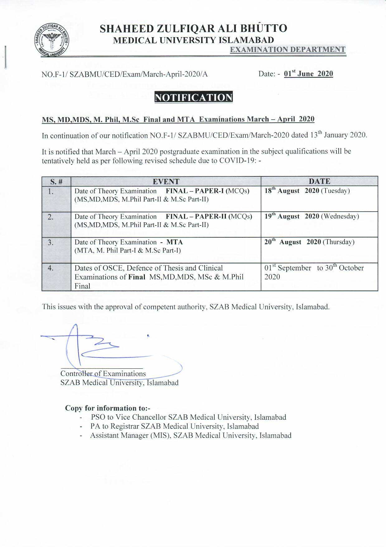 Revised Notification of MS-MD-MDS Examinations March-April 2020 session