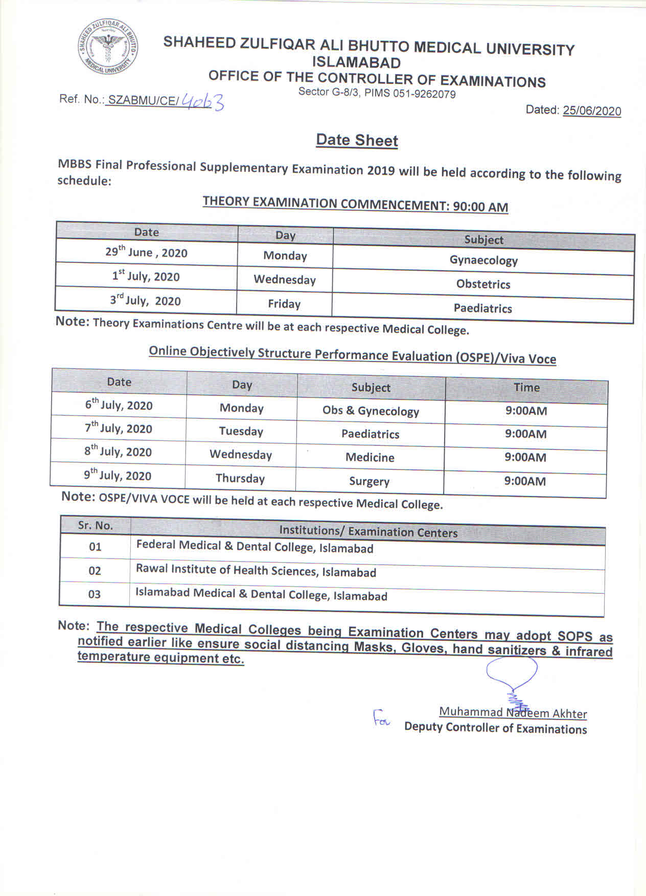 Date Sheets MBBS/ BDS Final Professional Supplementary Examination 2019