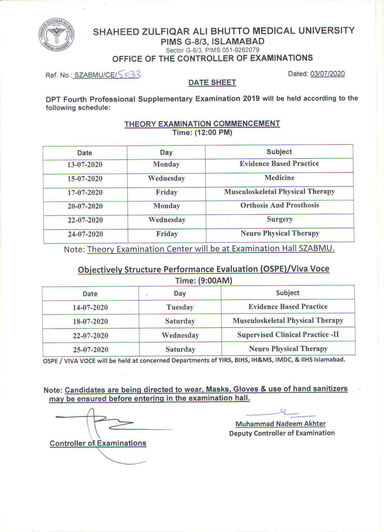 Date Sheets for DPT Supplementary Examination 2019