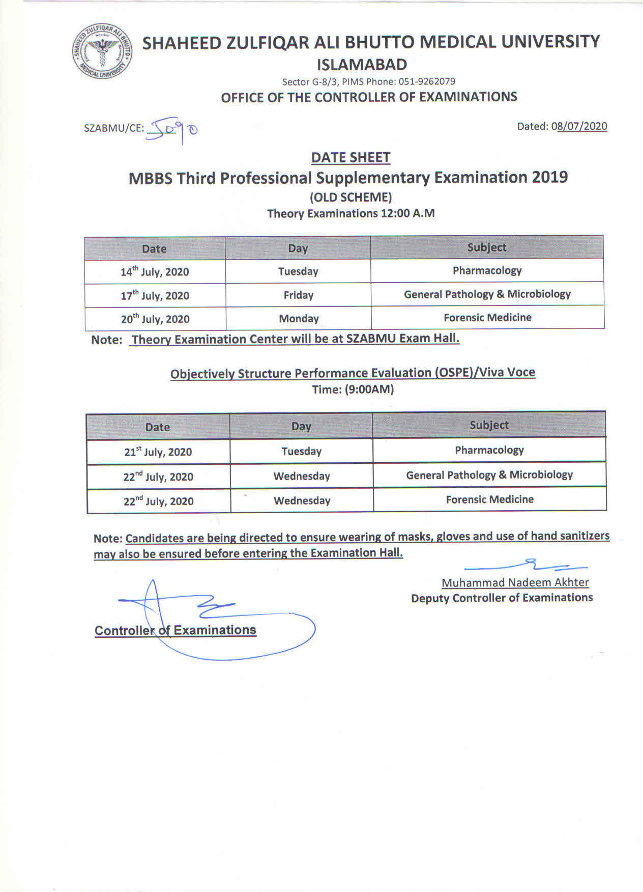 Date Sheet for MBBS 3rd Professional Supplementary Exam 2019 Old Scheme
