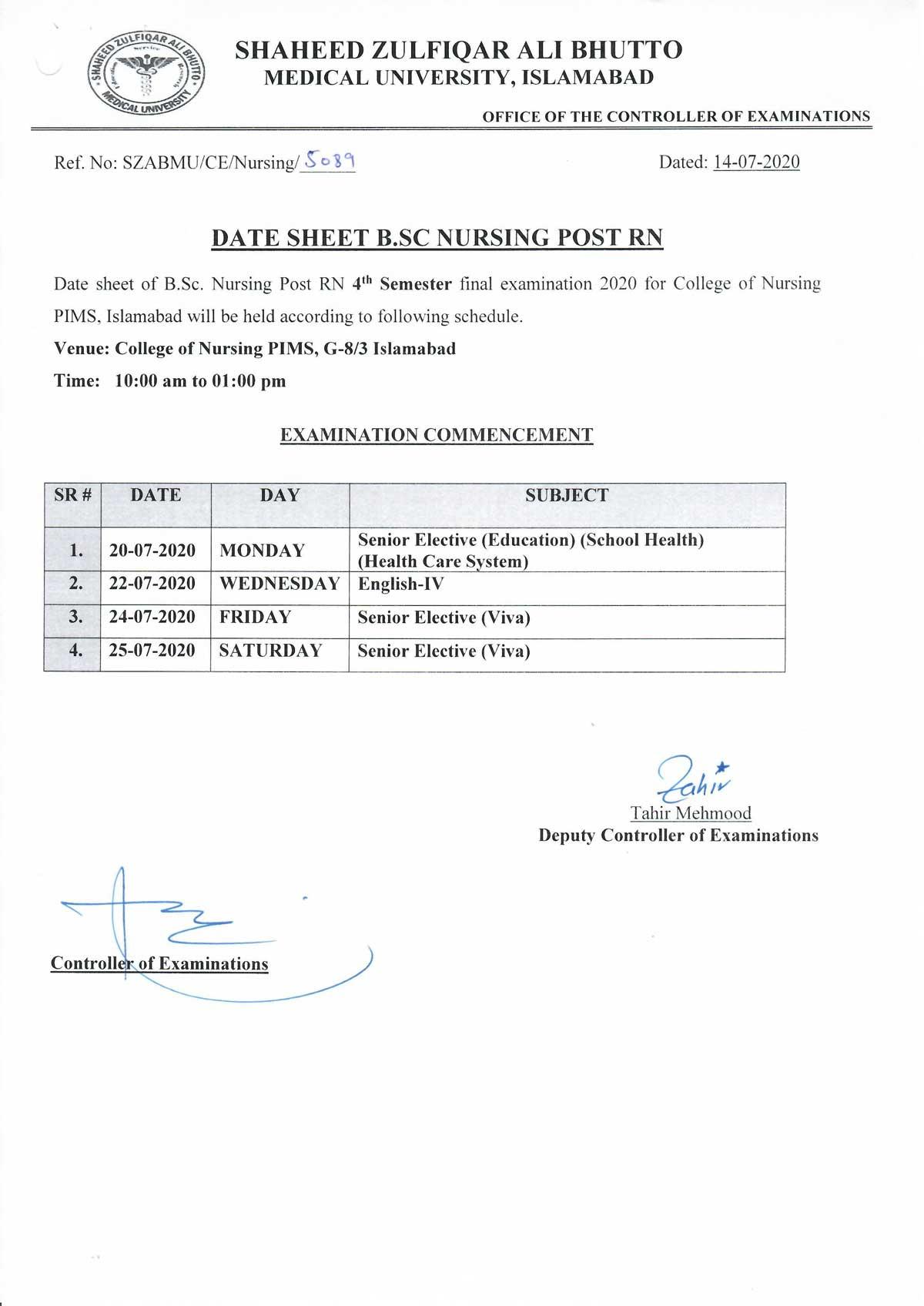 Date Sheet B.Sc Nursing Post RN 4th Semester College of Nursing, PIMS