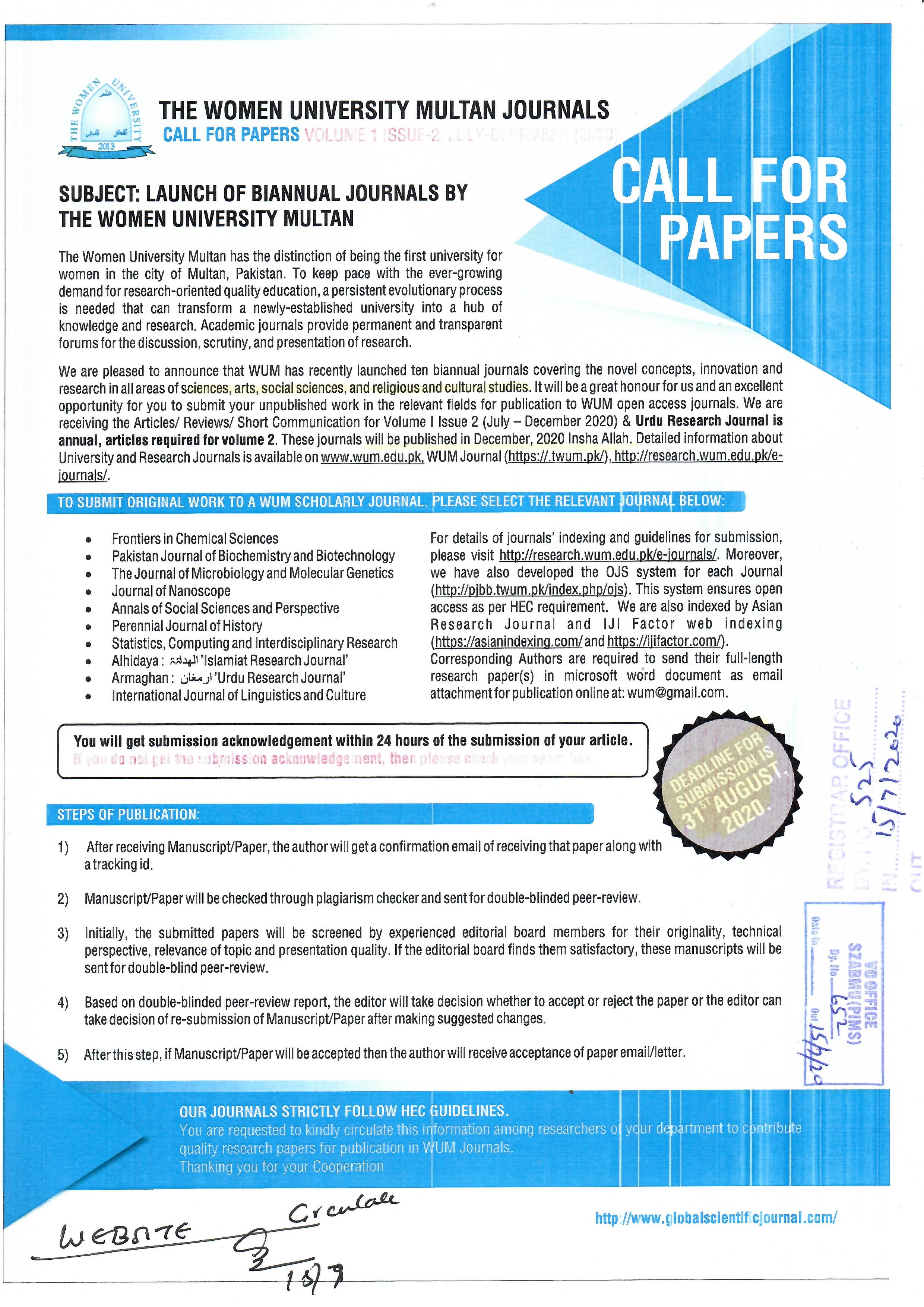 Launch of Biannual Journals by the women University Multan