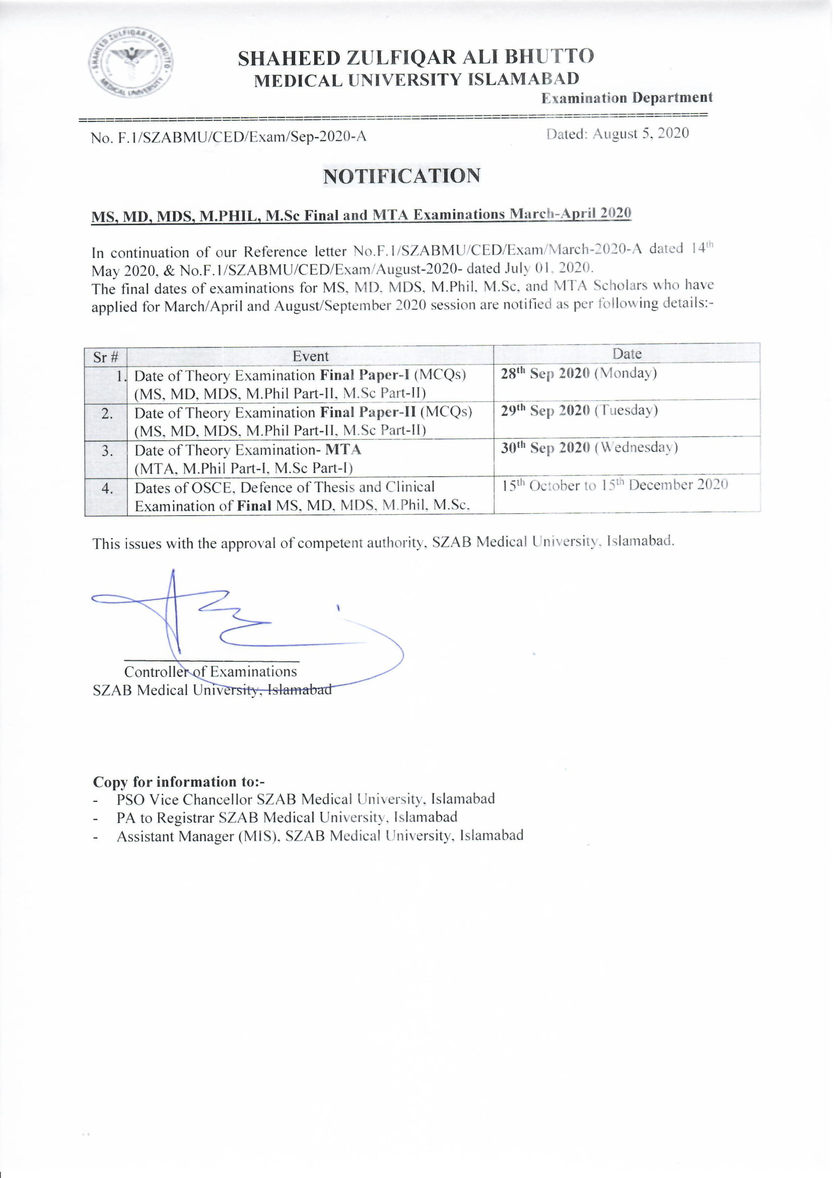 Revised Schedule of MS MD MDS M.phil M.Sc MTA Theory Exam Sep/Oct 2020