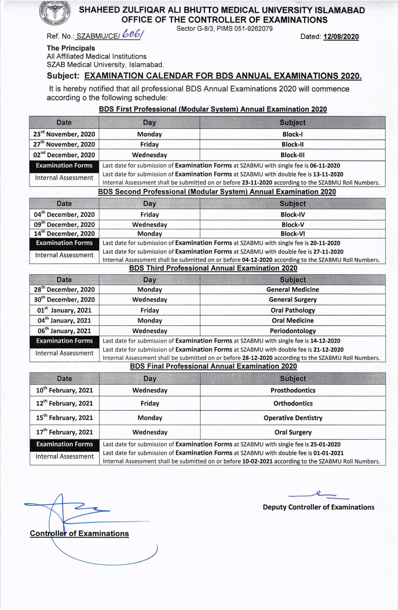 Exam Calendar of BDS Annual Examination 2020