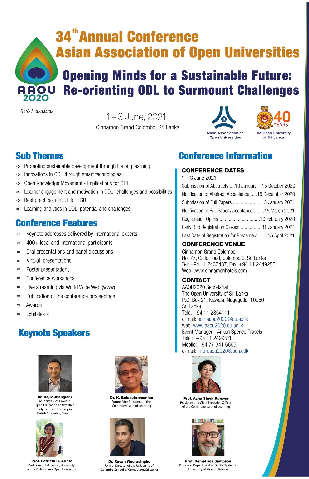 34th AAOU Annual Conference 2020 hosted by the Open University of Sri Lanka