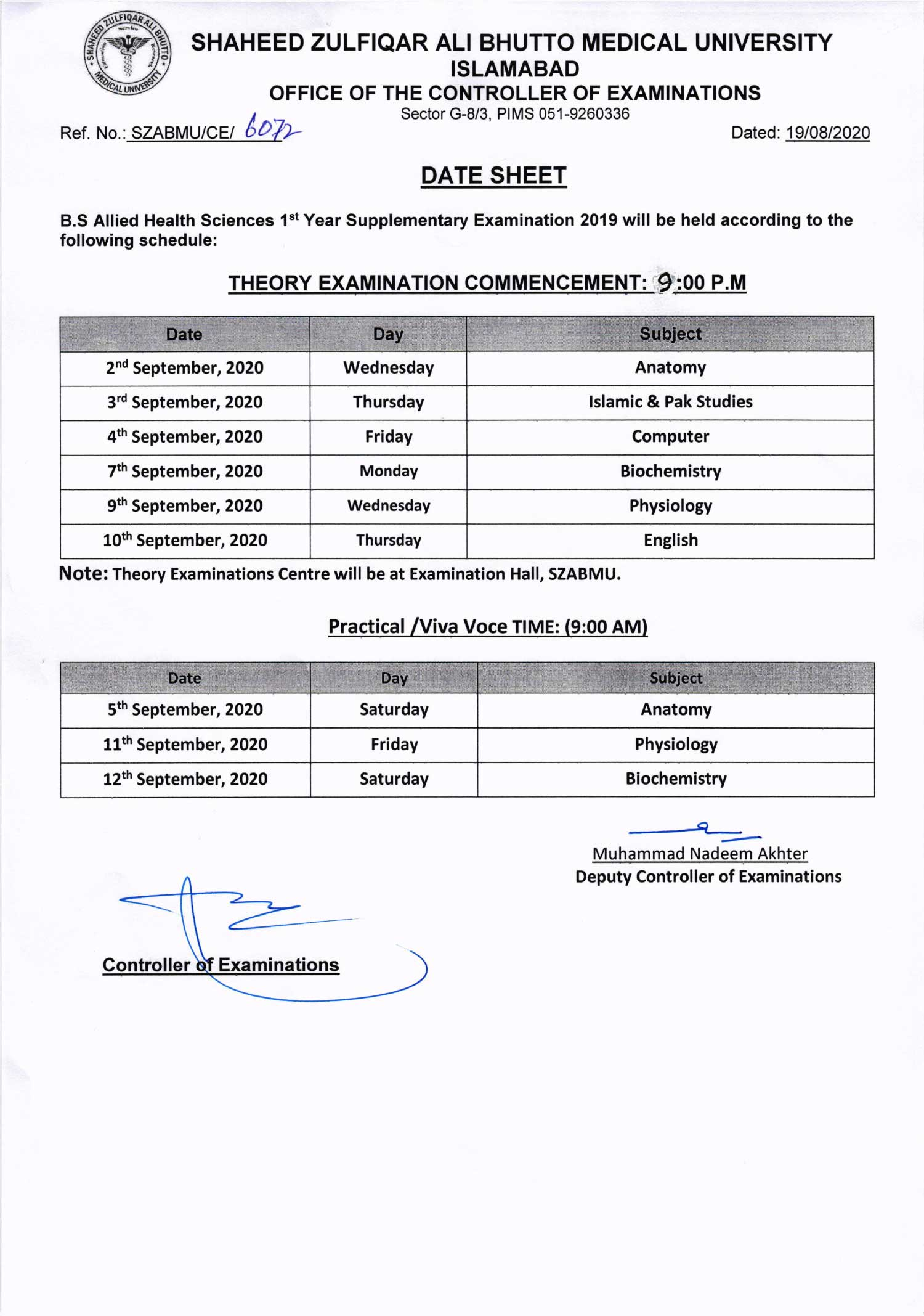 Date Sheet of B.S AHS 1st Year Supplementary Examination 2019