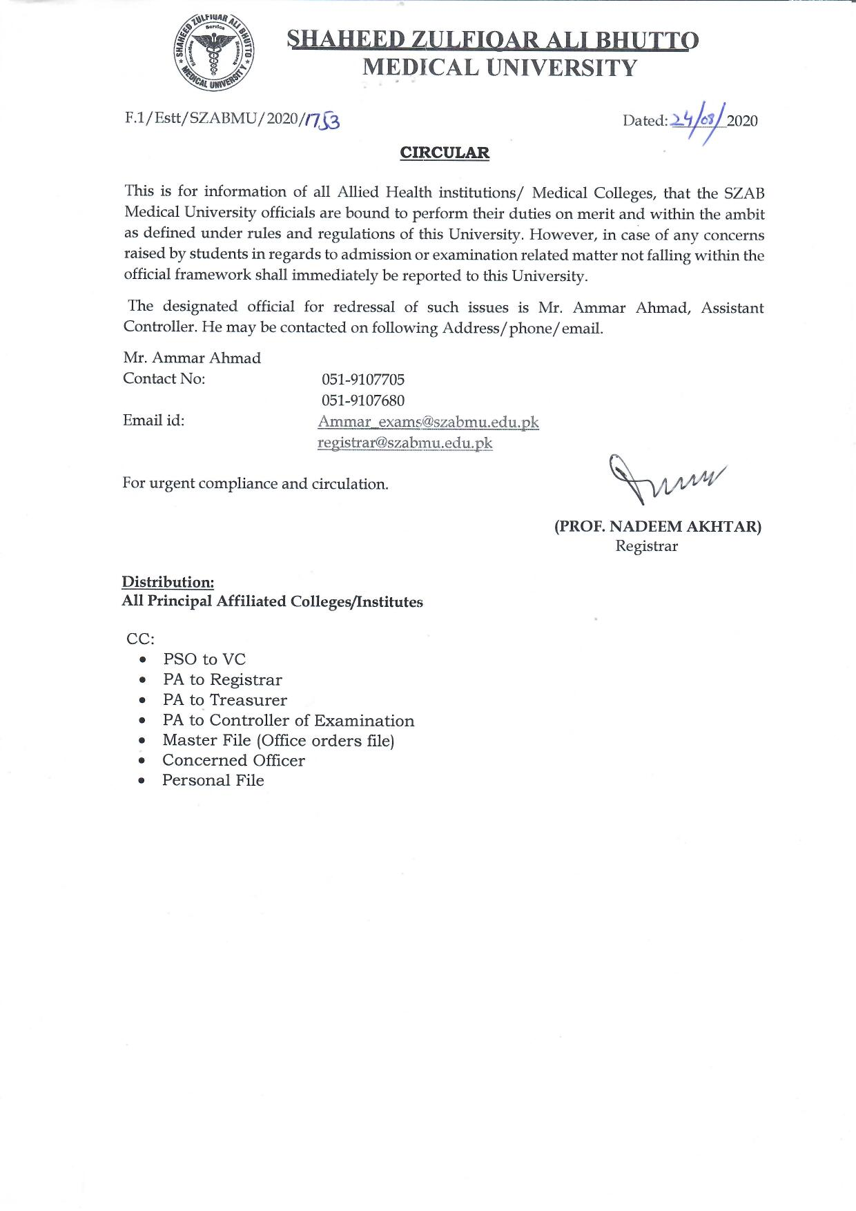 Circular Focal Person for Allied Health Institutions, Medical & Dental Colleges