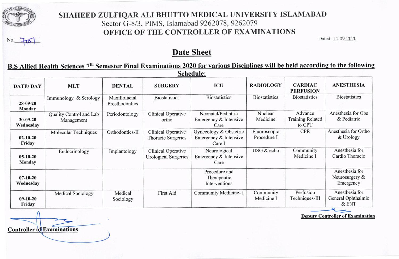 Date sheet of B.S. AHS 7th Semester Final Exam 2020