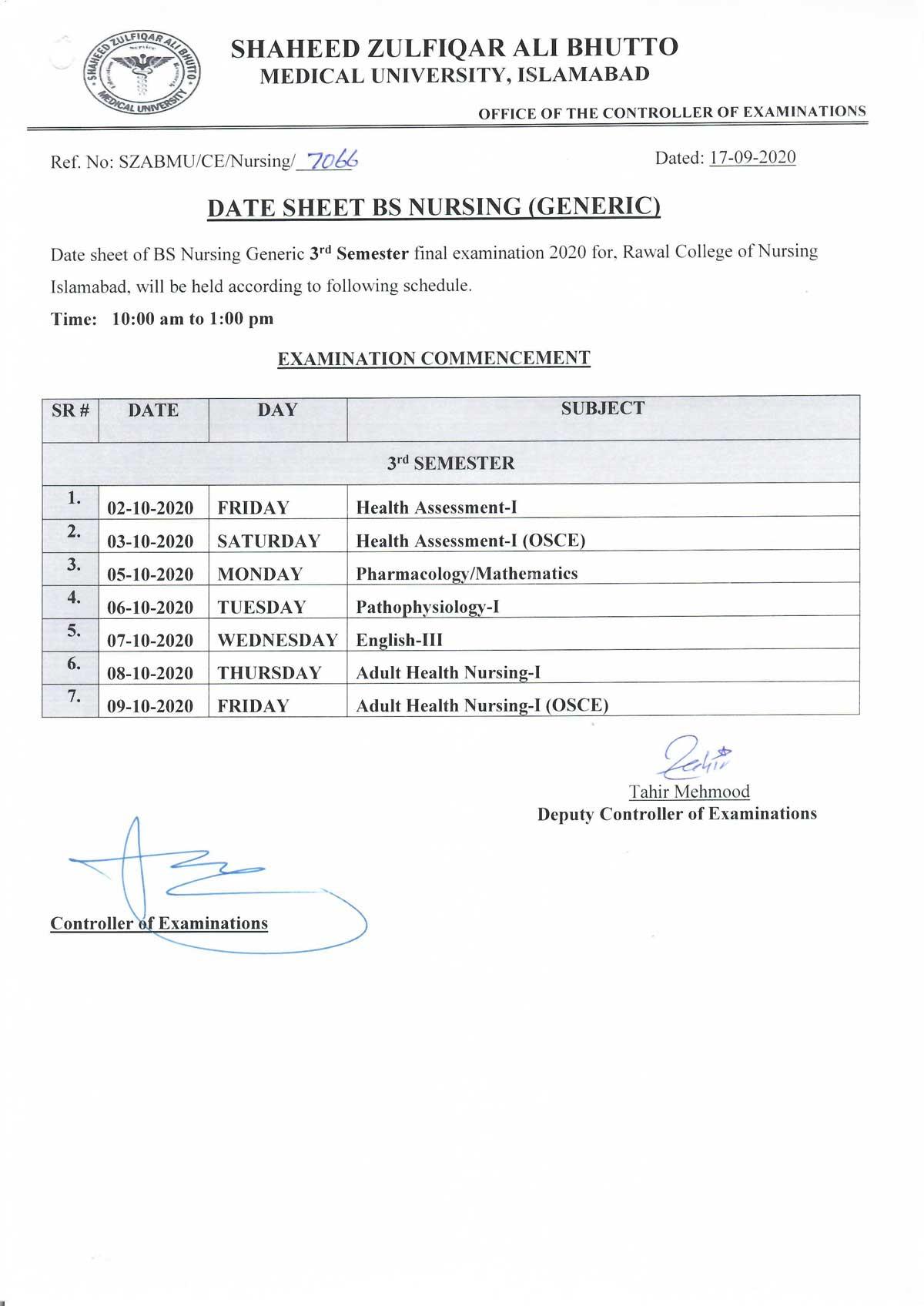 3rd Semester Date Sheet of BS Generic Nursing