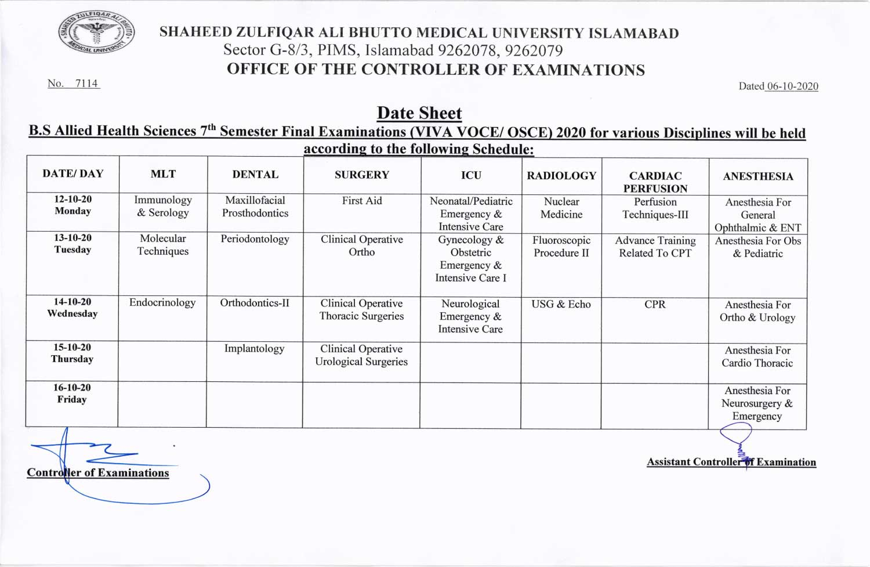 Date sheet of B.S. AHS 7th Semester Final Exam (VIVA / OSCE) for 2020