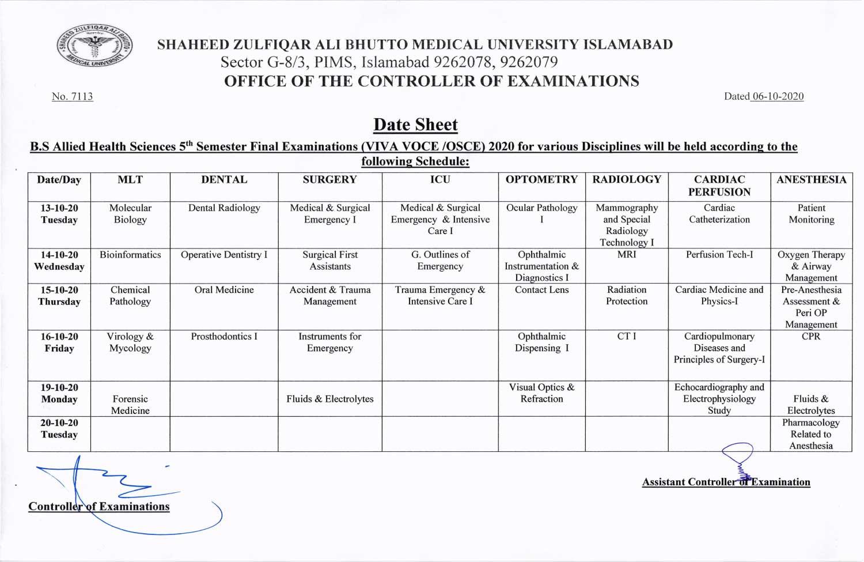 Date sheet of B.S. AHS 5th Semester Final Exam (VIVA / OSCE) for 2020