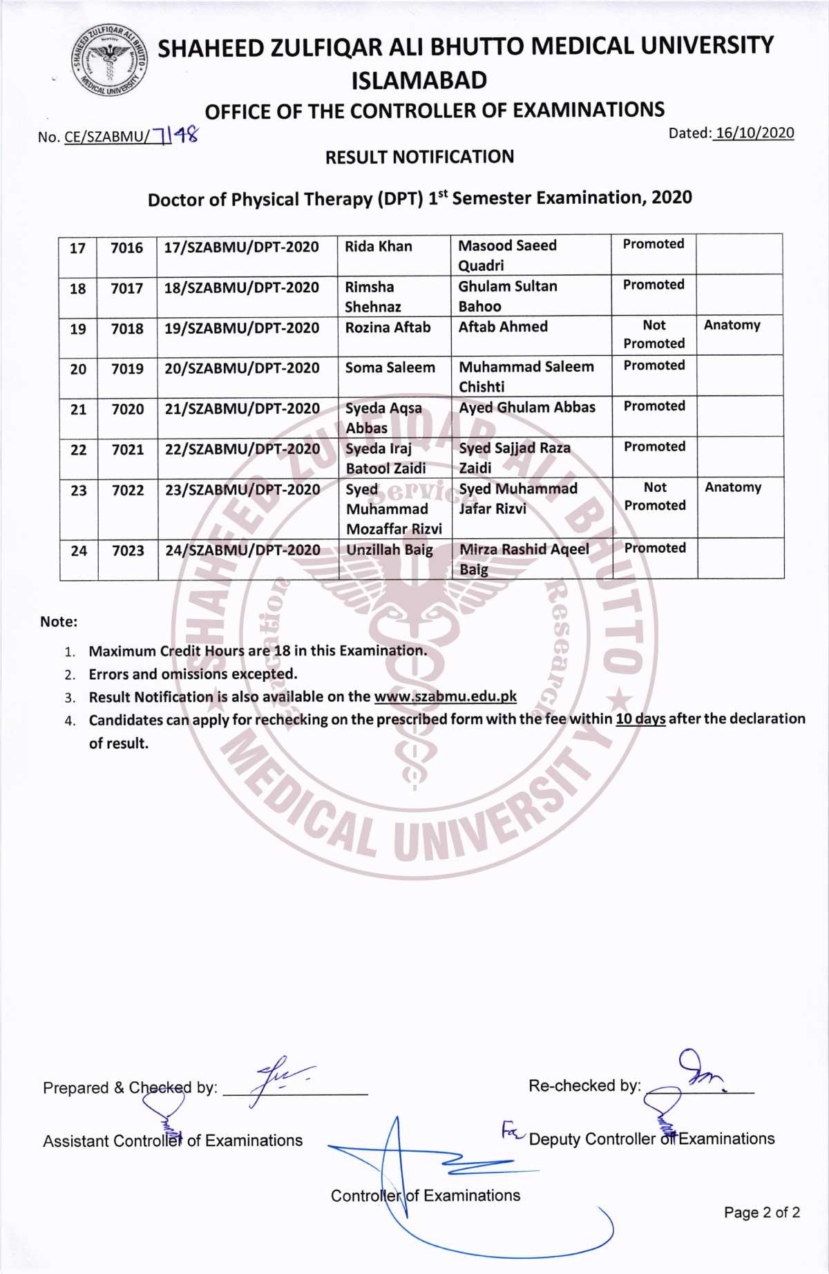 Result Notification of DPT 1st Semester Examination 2020