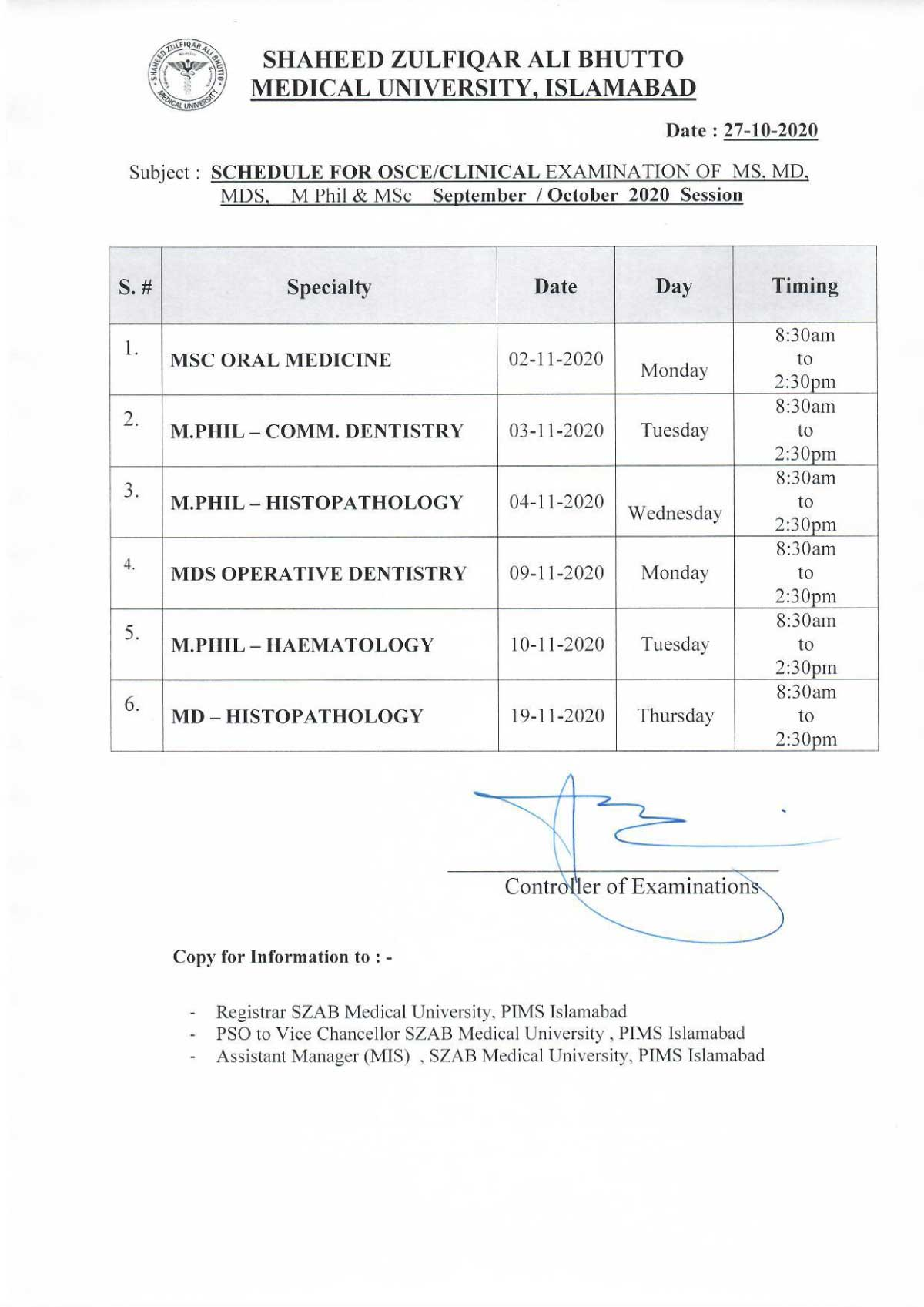Schedule of Clinical Examination for MS,MD,MDS,M.Phil and MSc exam September /October 2020