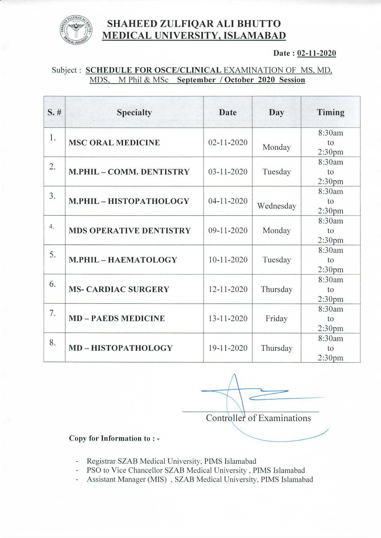 Revised schedule of Clinical Examination for MS,MD,MDS,M.Phil and MSc exam September /October 2020 session