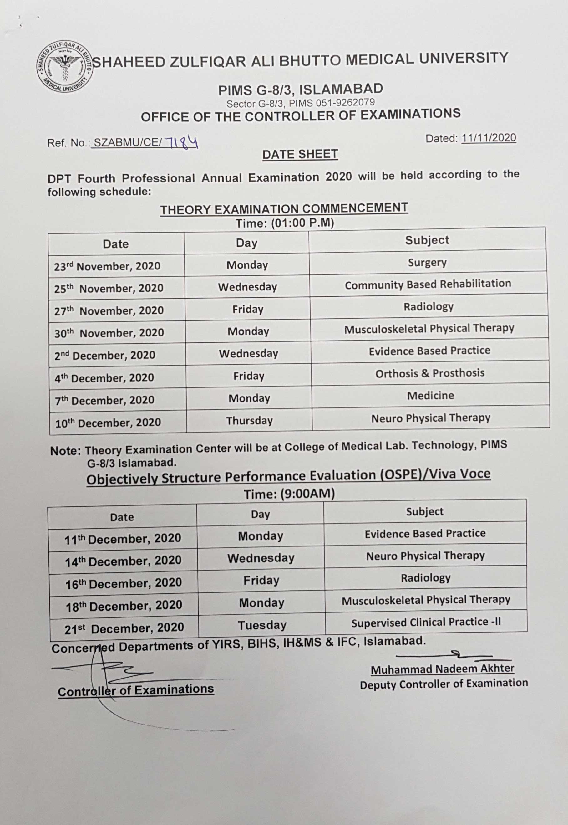 Datesheet of DPT 2nd,3rd,4th and 5th Professional Annual Exam 2020