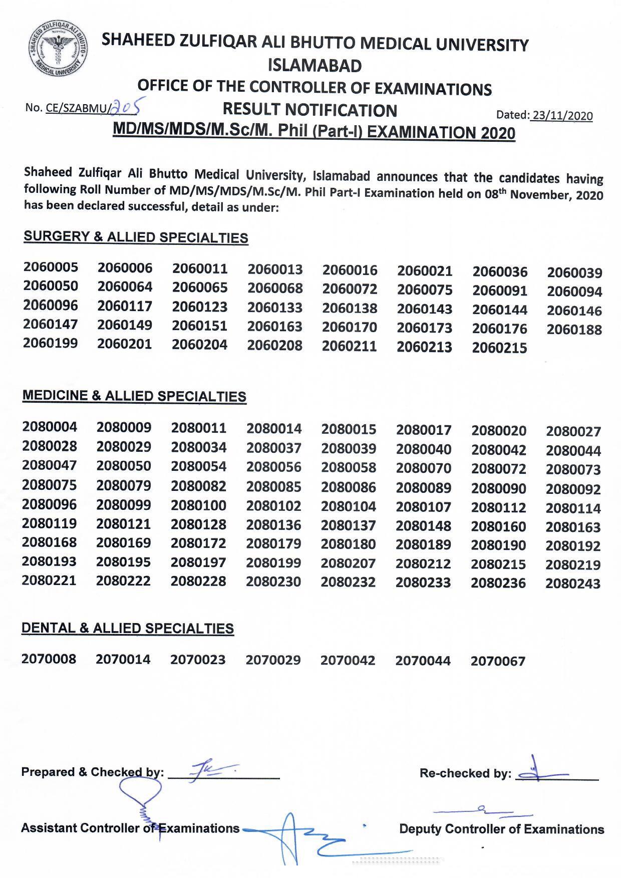 Result Notification MS/ MD/ MDS Part-I Exam 2020