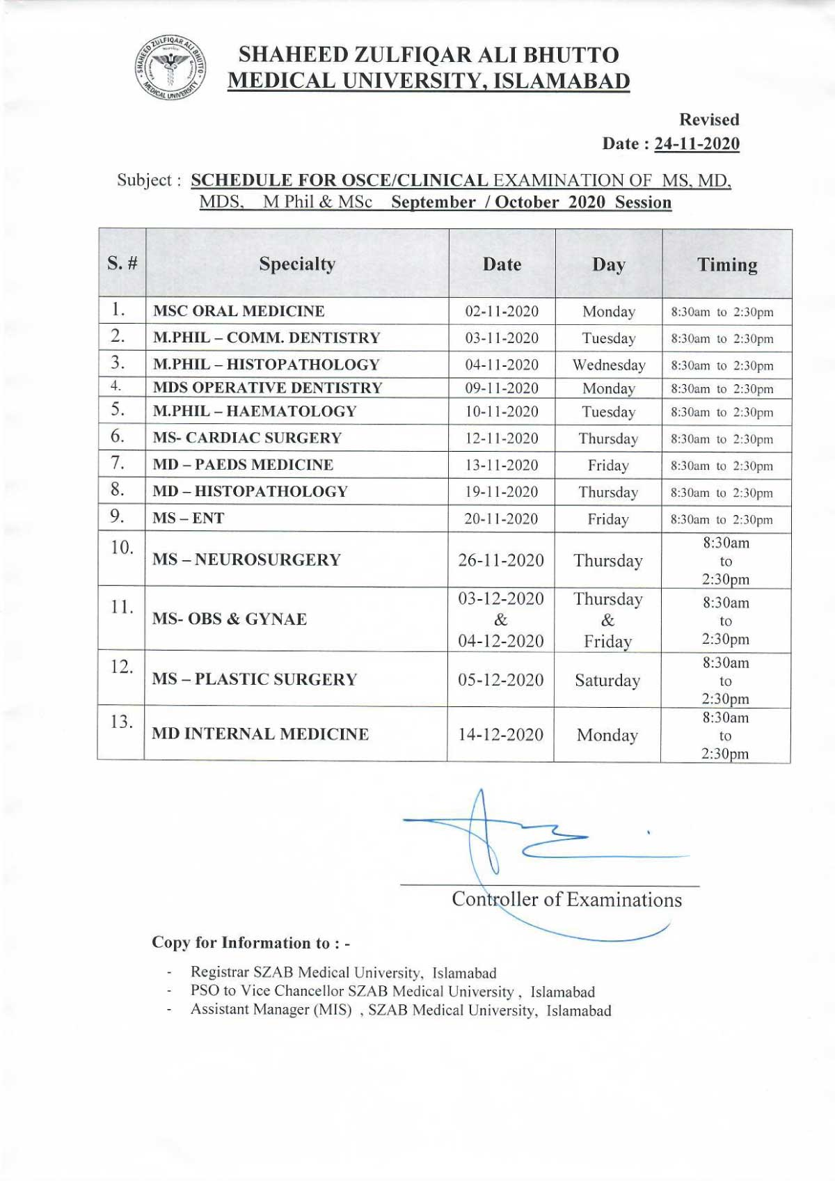 Revised schedule of Clinical Examination - Revised on 24-11-2020