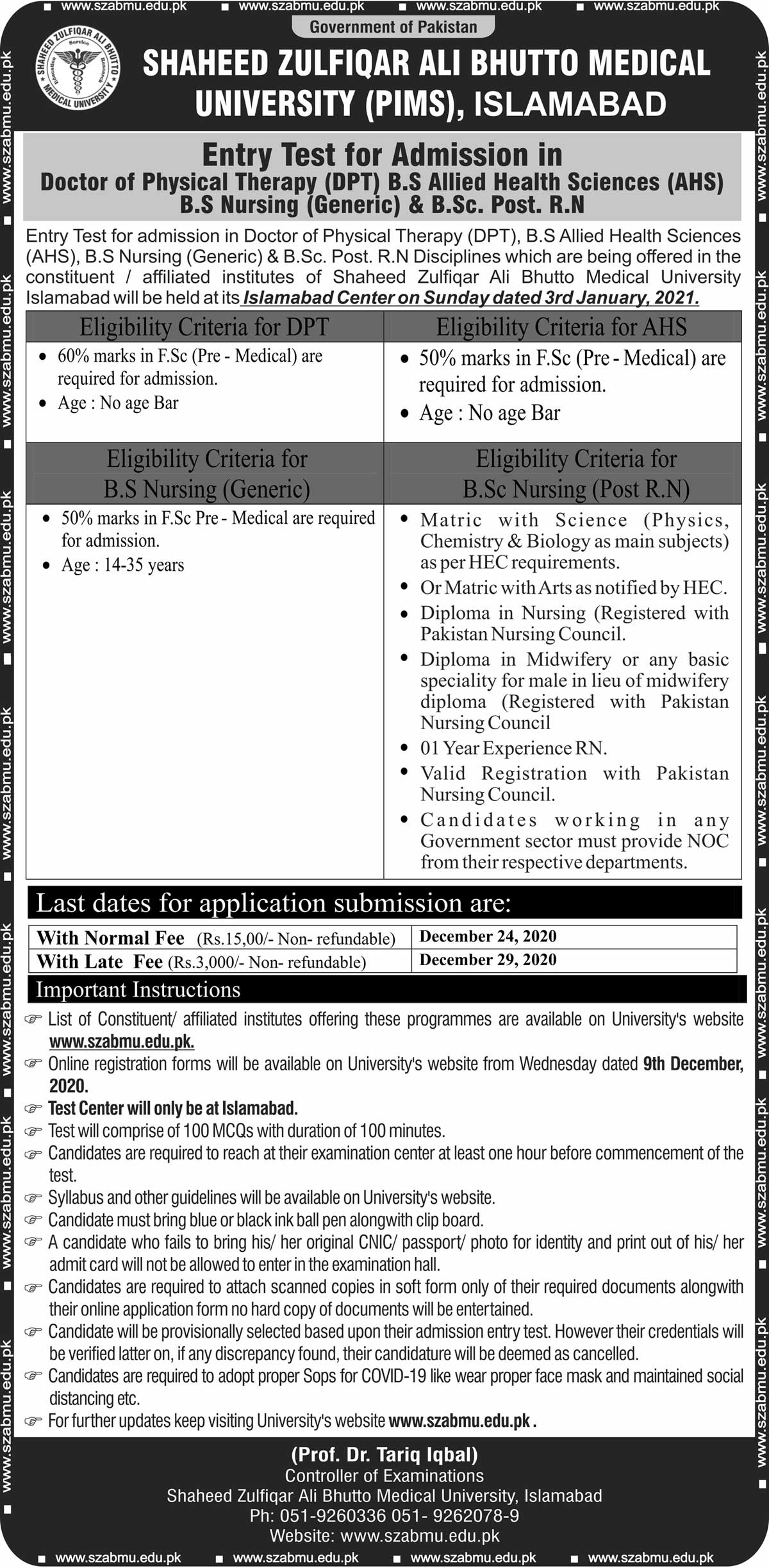 Entry Test for Admission in DPT, BS AHS, BS Nursing, BSc Post RN
