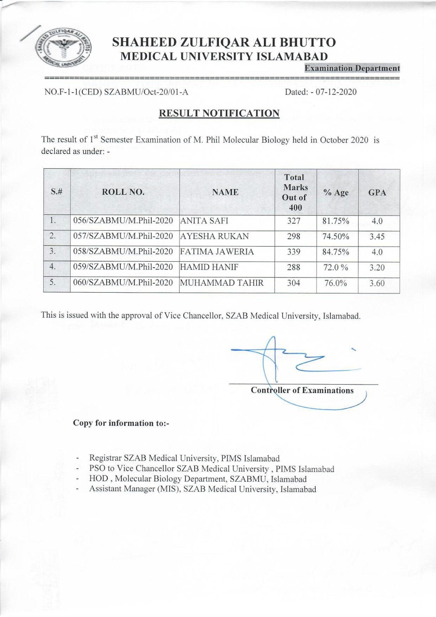 Result Notification of 1st Semester of M.Phil Molecular Biology