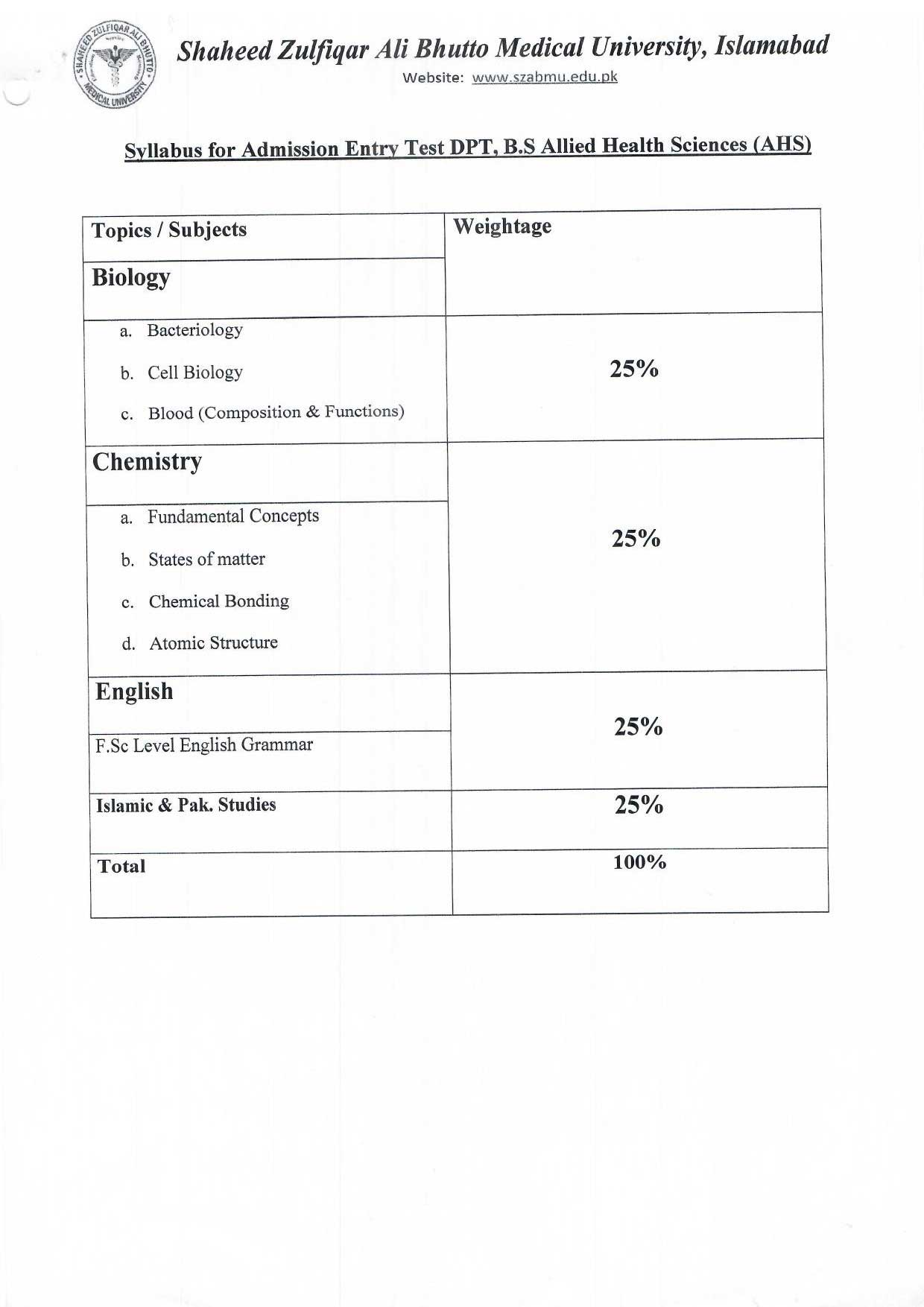 SYLLABUS FOR ENTRY TEST OF DPT, BS AHS, BS NURSING, BSC POST RN
