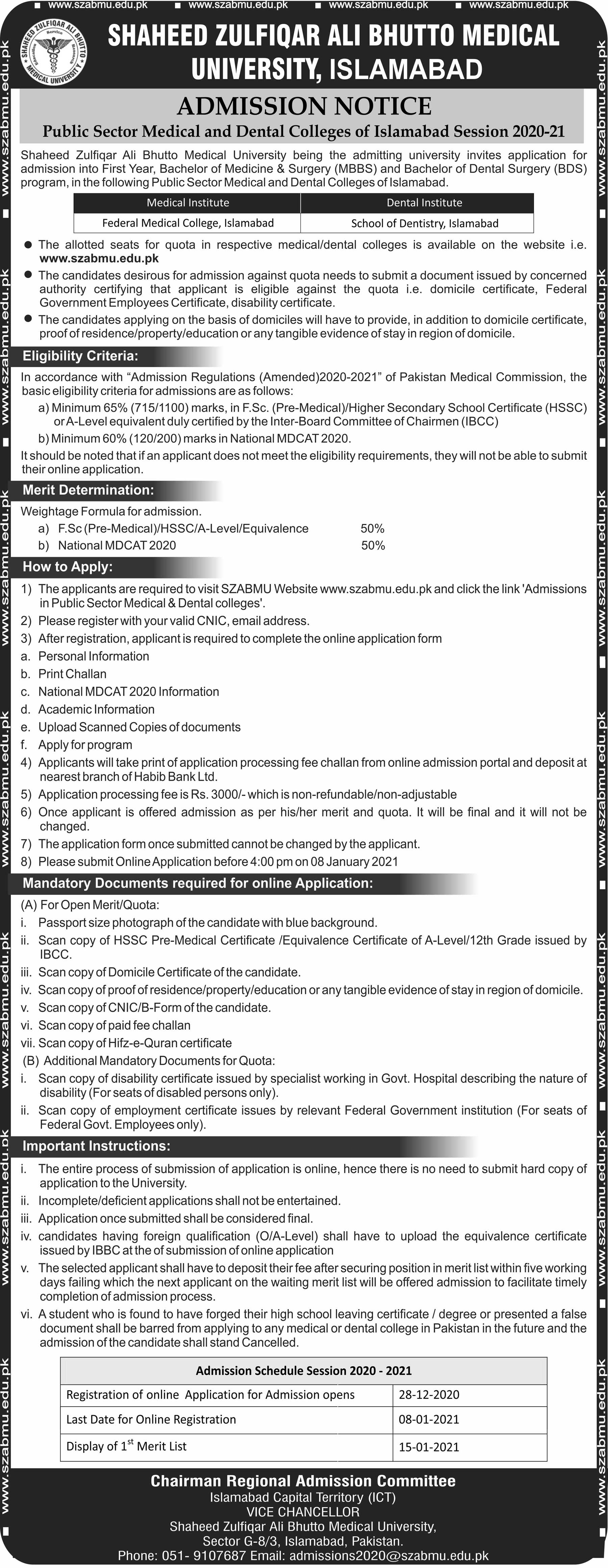 Admission Notice - Public Sector Medical and Dental Colleges of Islamabad Session 2020-21