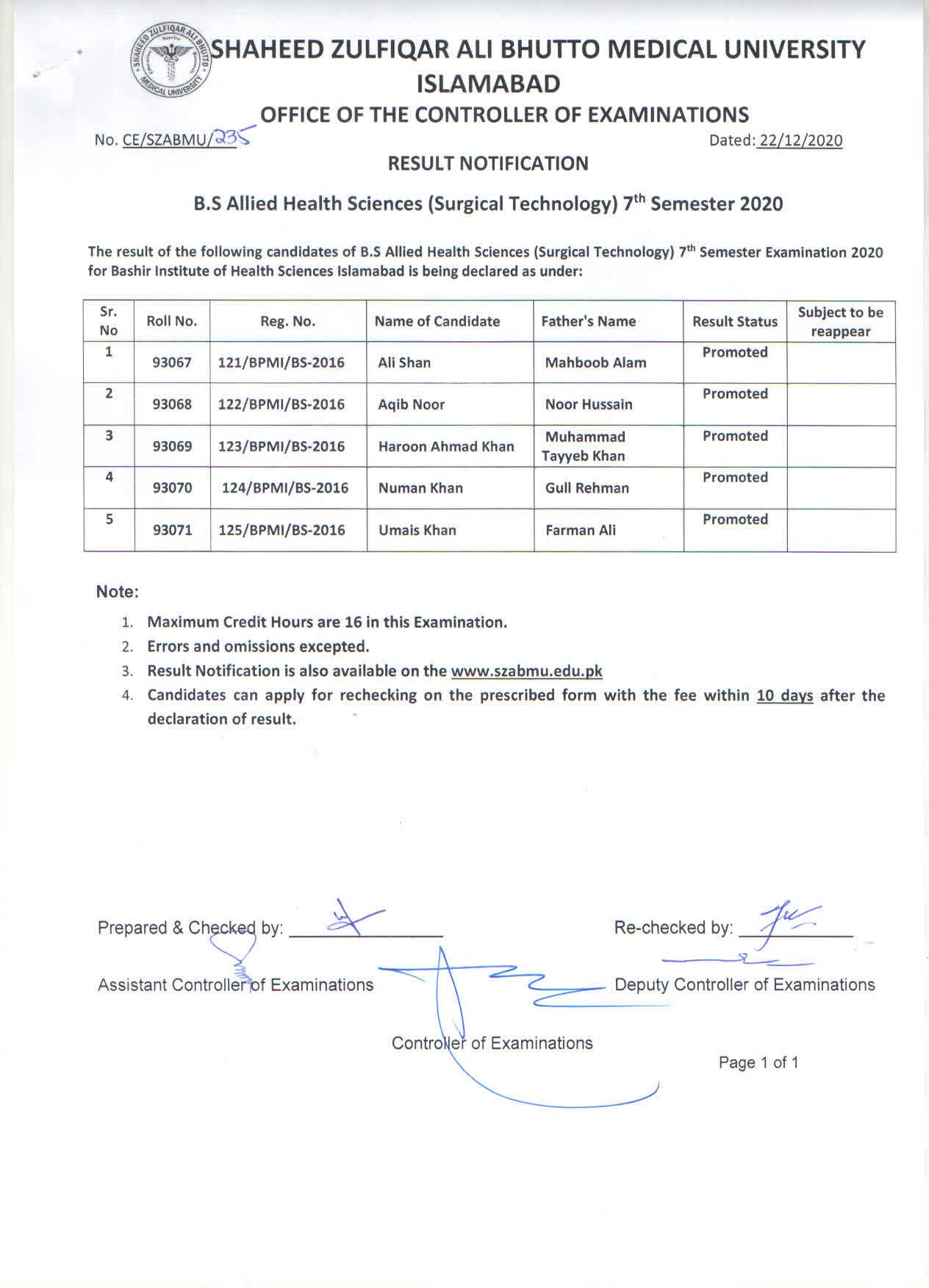 Result Notifications B.S AHS 7th Semester 2020
