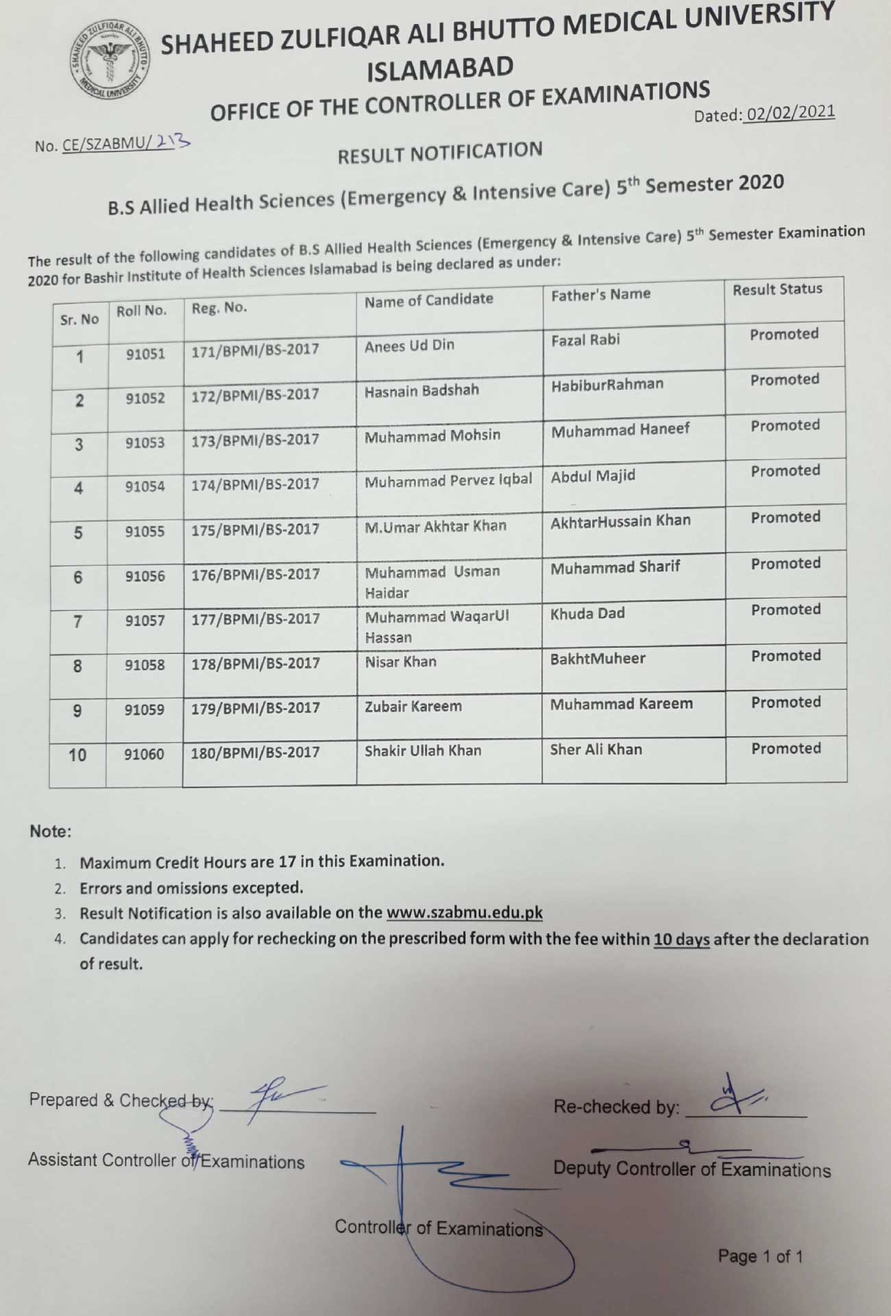 Result Notification - B.S Allied Health Sciences 5th Semester