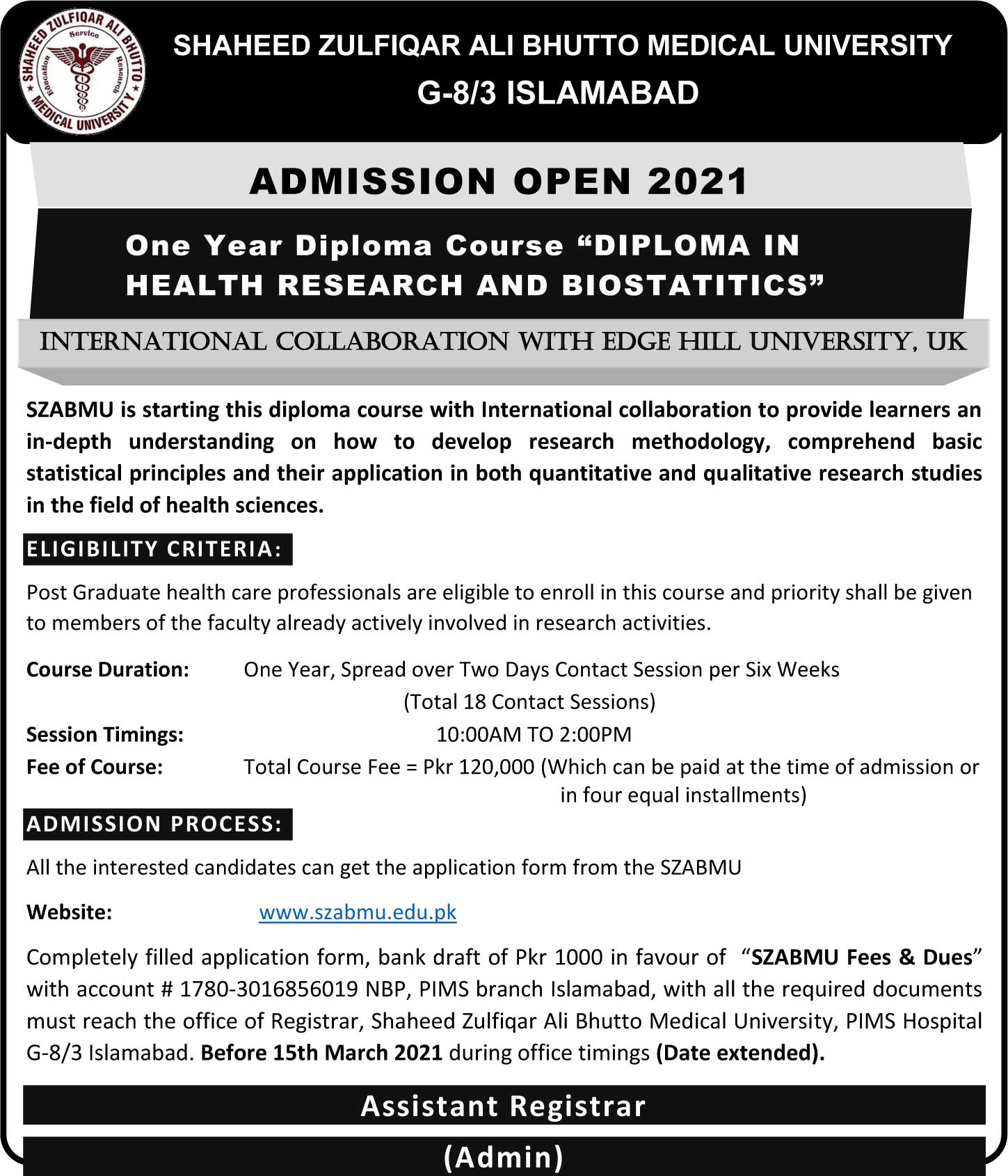 Date Extension - Diploma in Health research and Biostatistics