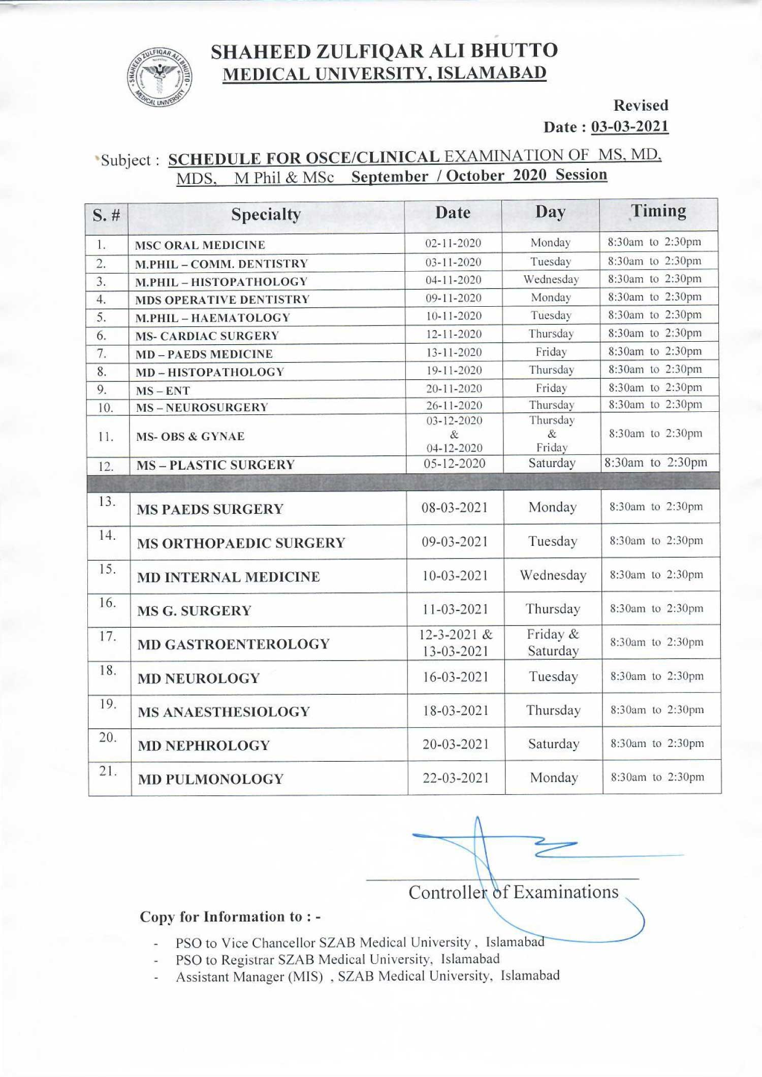 Revised schedule of Clinical Examination