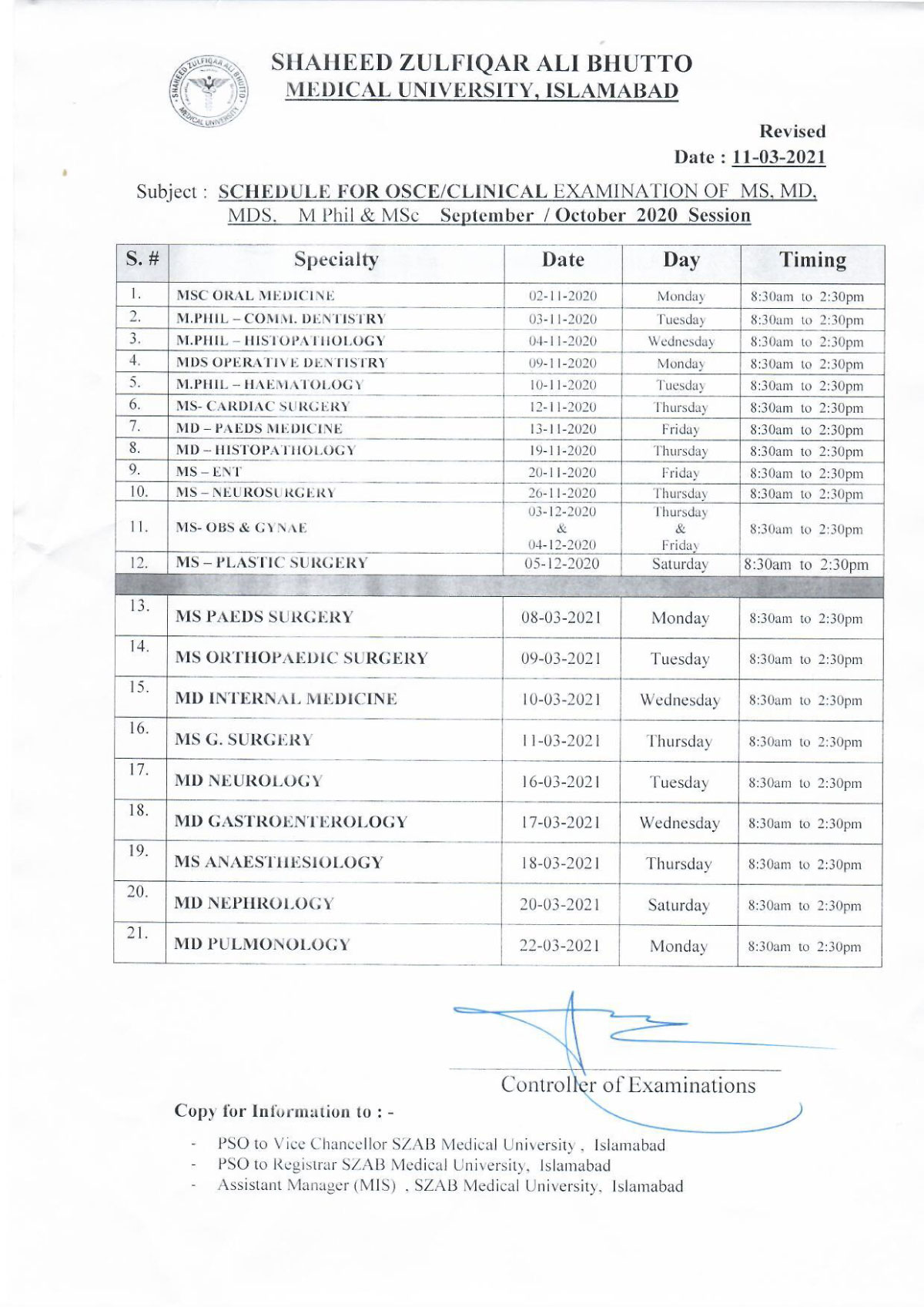 Revised schedule of Clinical Examination - Revised on 11-03-2021