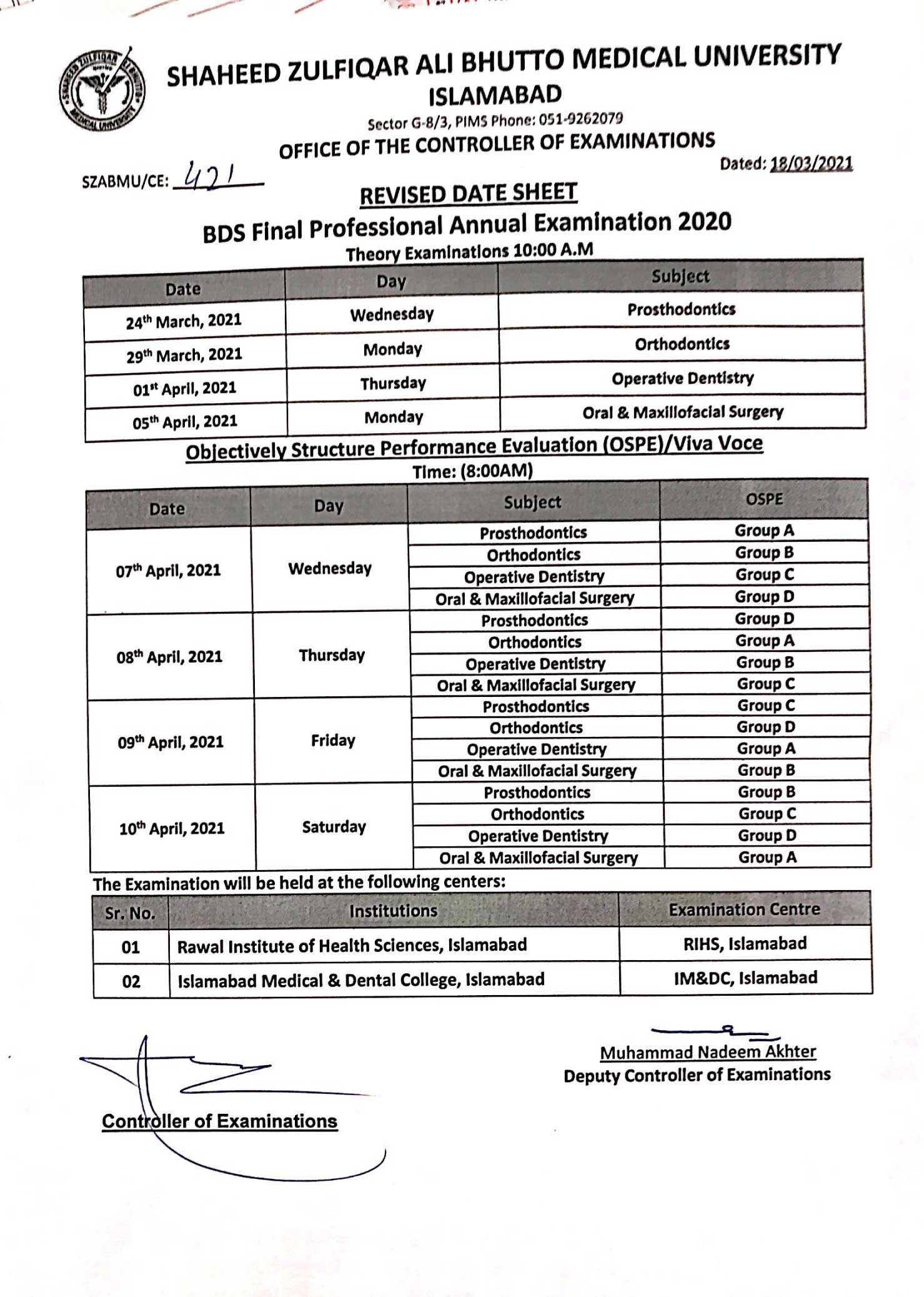 BDS Final Professional Annual Examination 2020