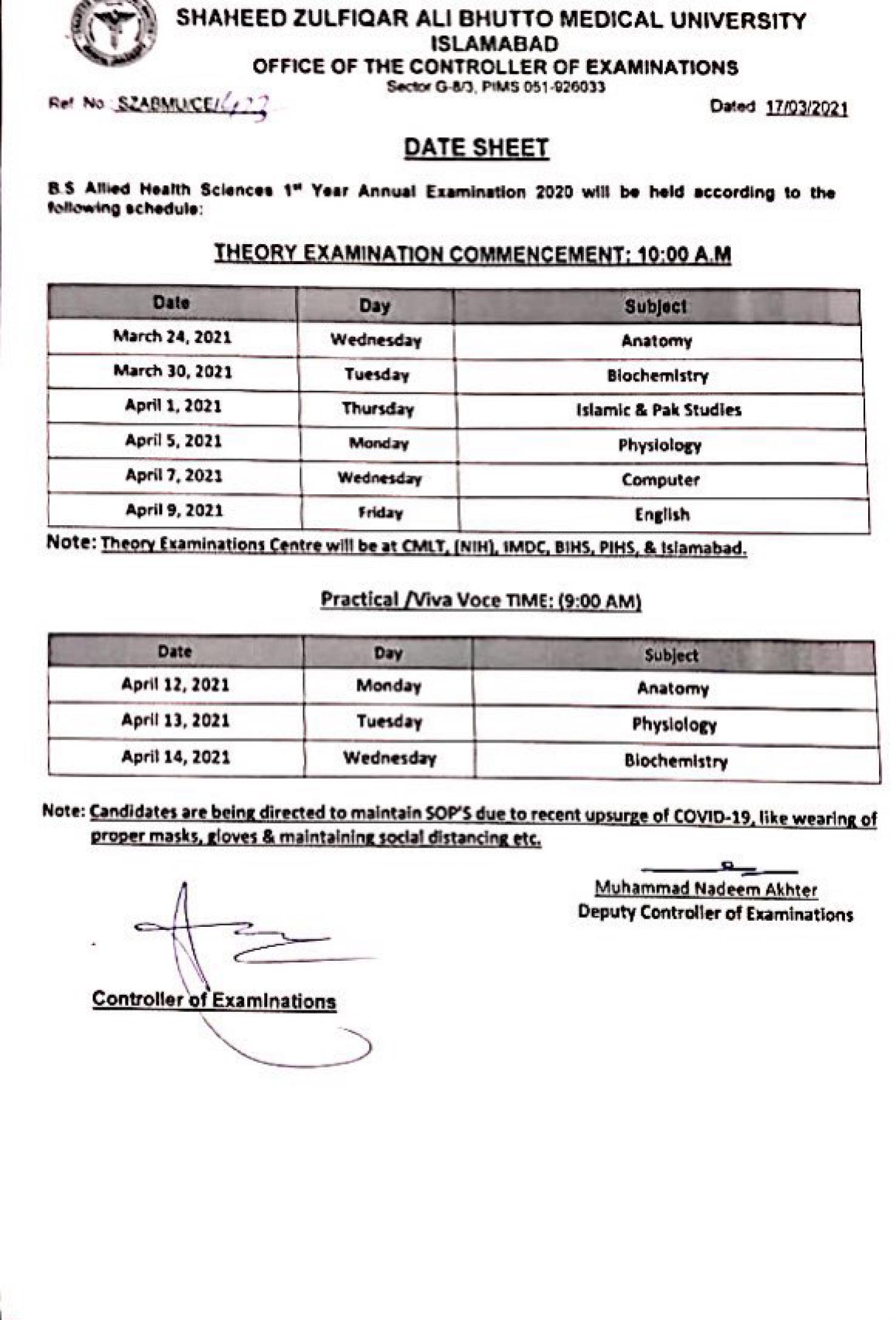 BS Allied Health Sciences 1st Year Annual Examination 2020