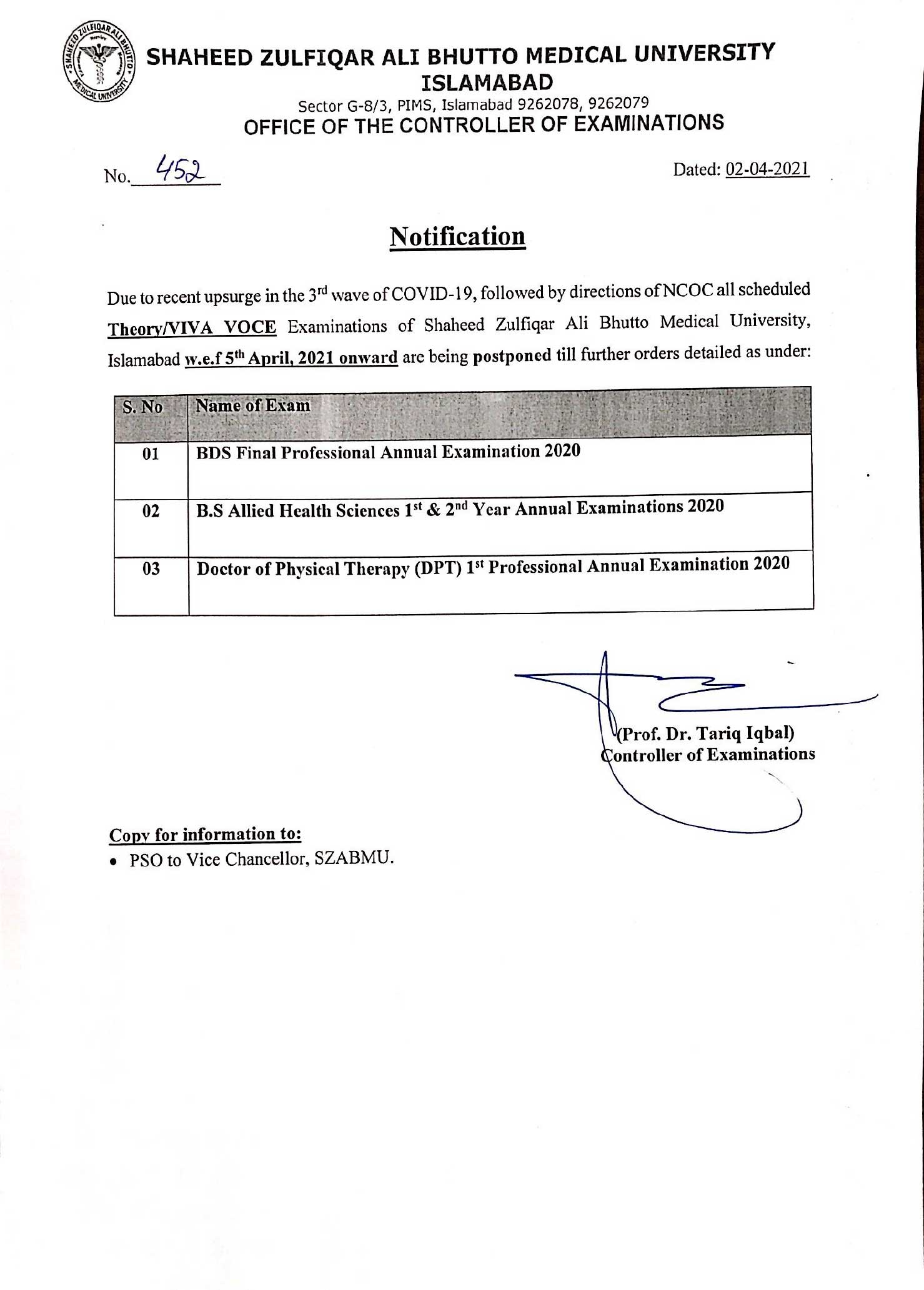 Notification - Postponement of BDS Final Professional, DPT 1st Professional, BS AHS 1st and 2nd Year Annual Examinations 2020