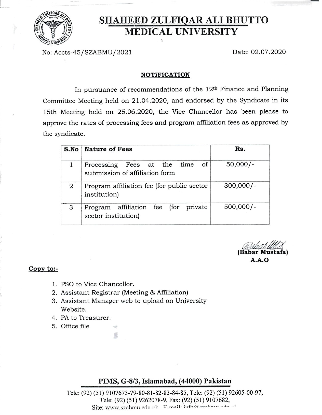 Revised Affiliation Fee