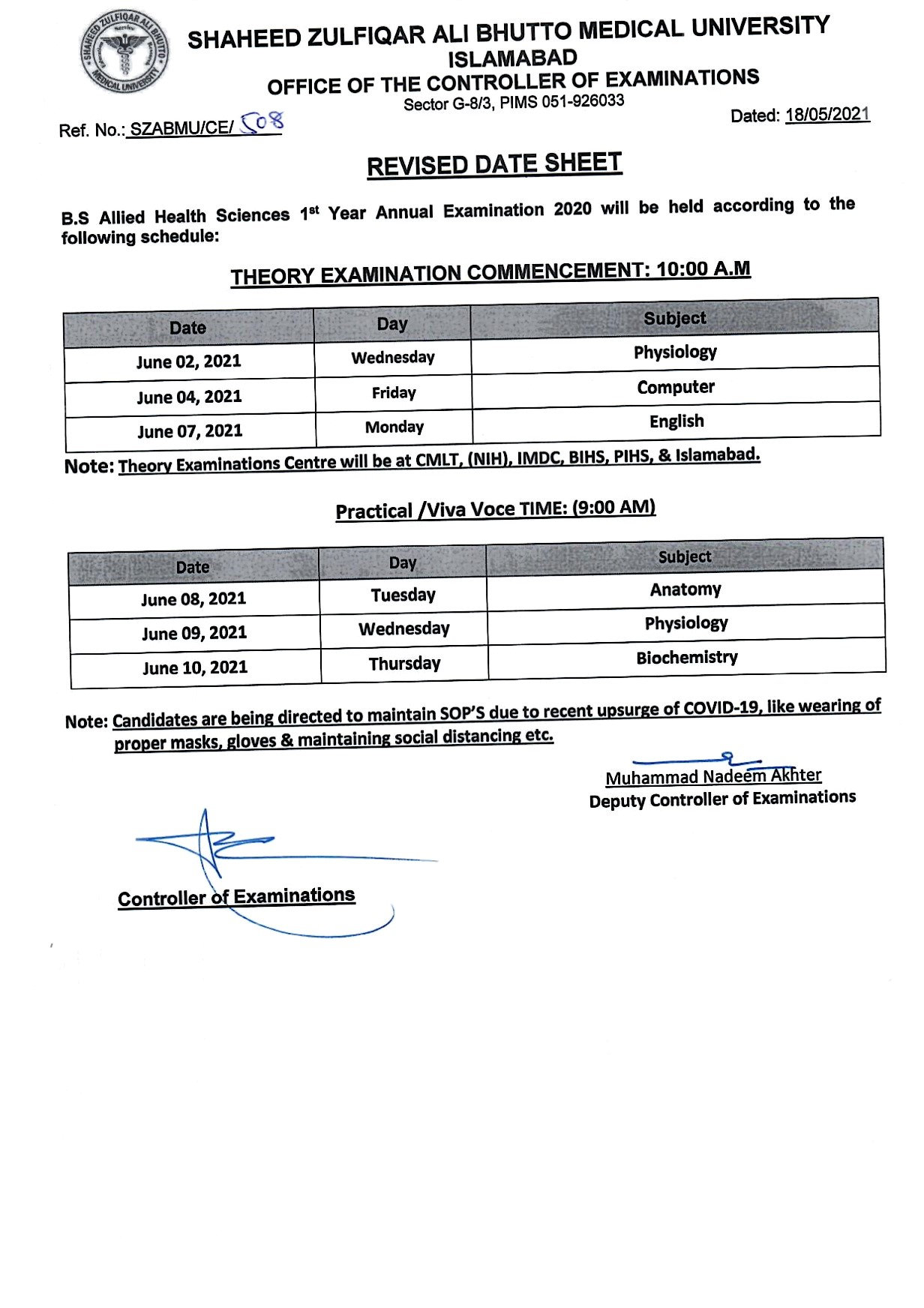 Revised Date Sheet - BS AHS 1st Year Annual Examination 2020