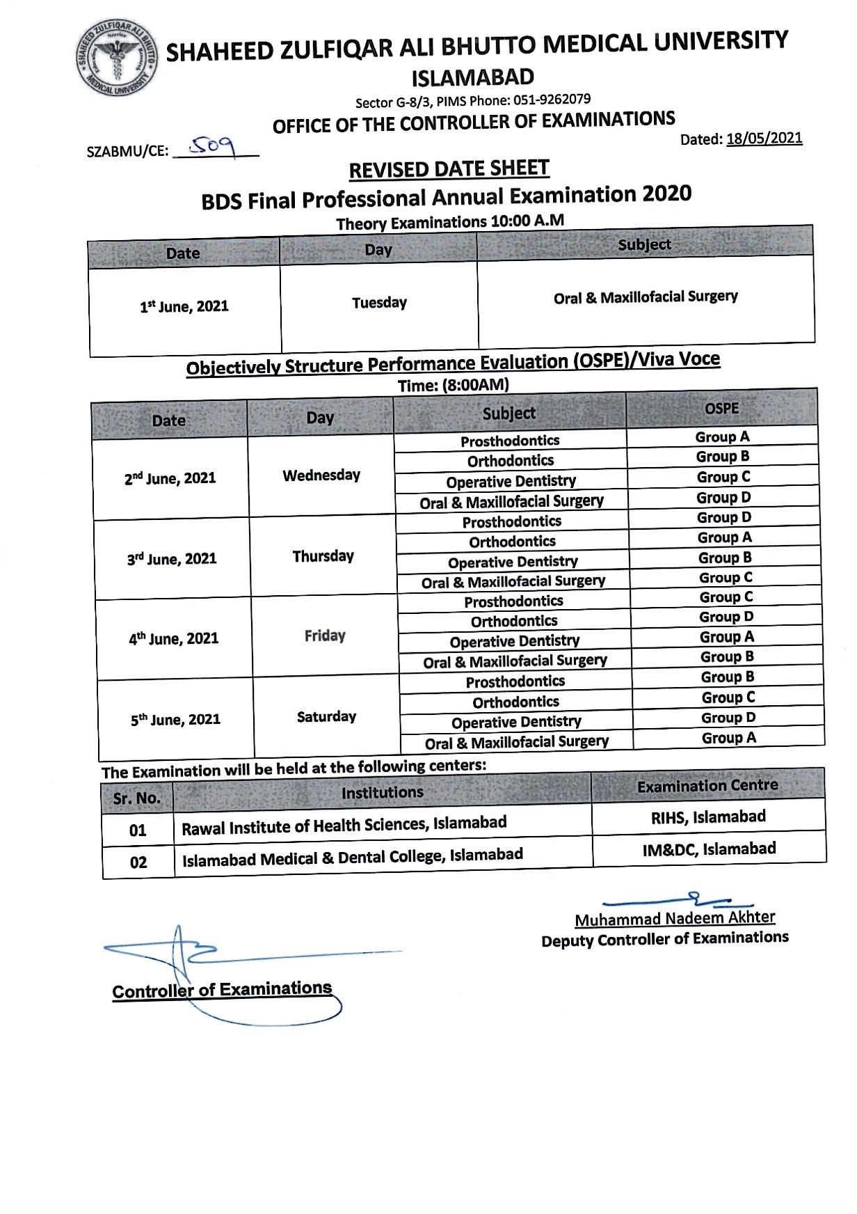 Revised Date Sheet - BDS Final Year Annual Examination 2020
