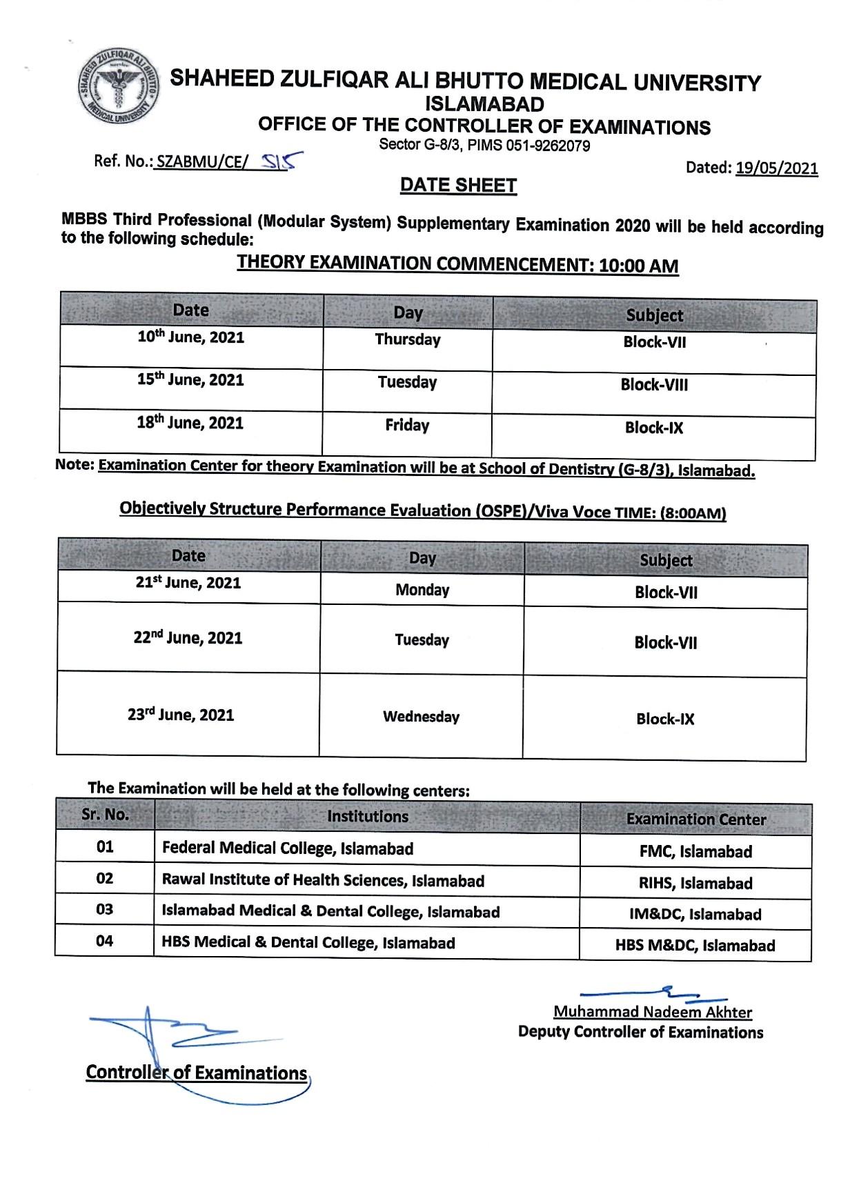 Date Sheet - MBBS Supplementary Examination 2020