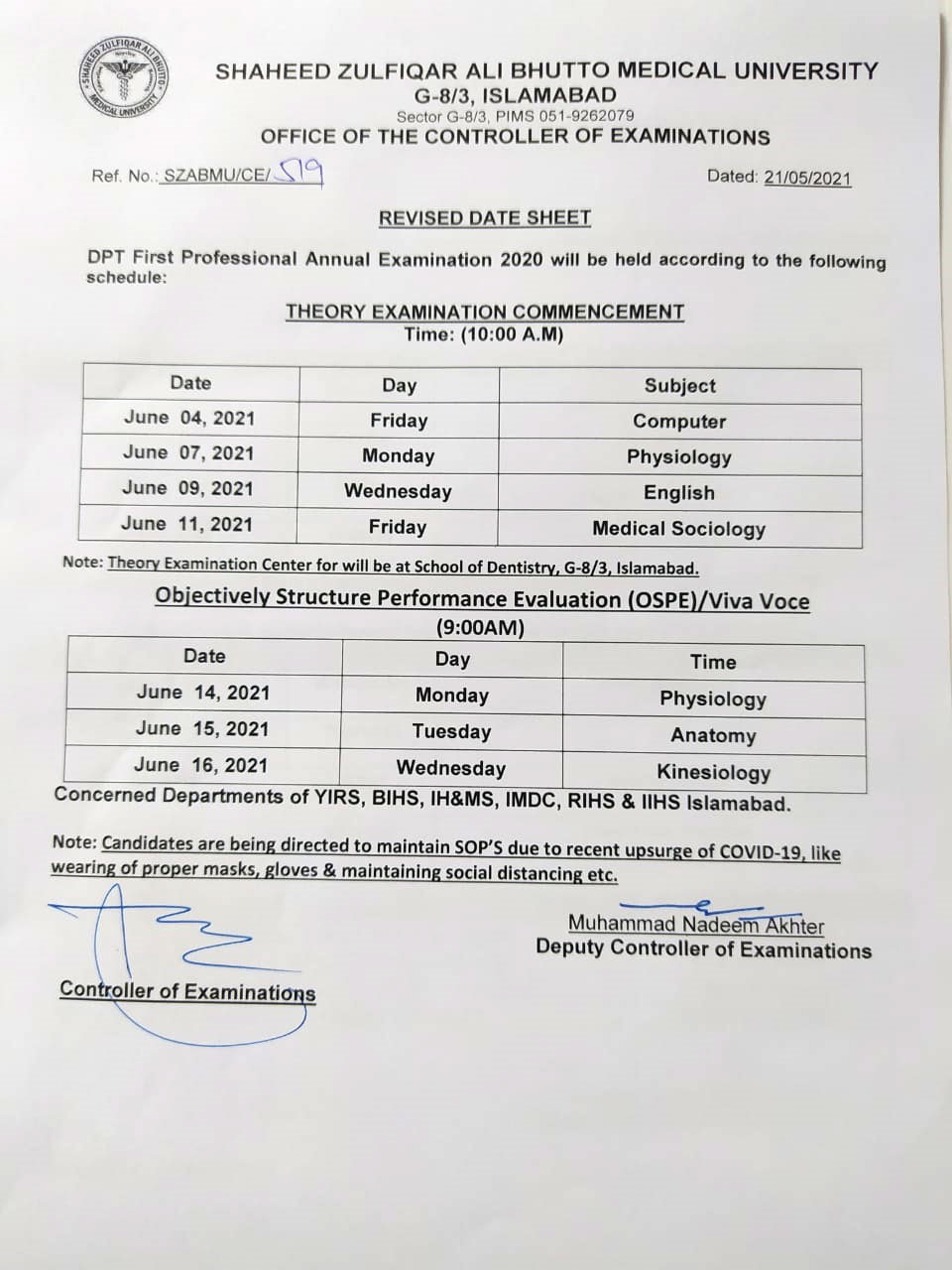 Revised Date Sheet - DPT 1st Year Annual Examination 2020