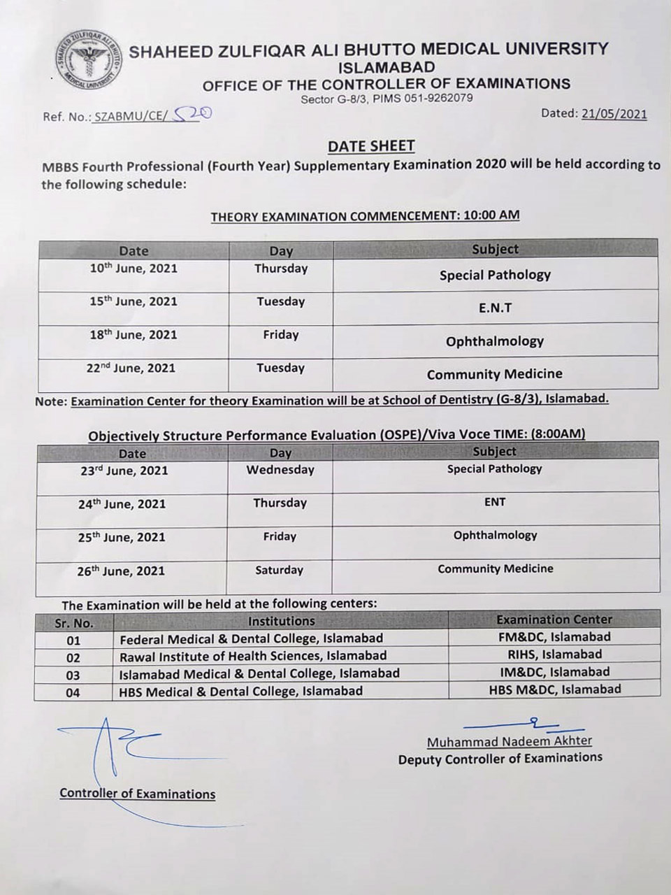 Date Sheet - MBBS 4th Year Supplementary Examination 2020
