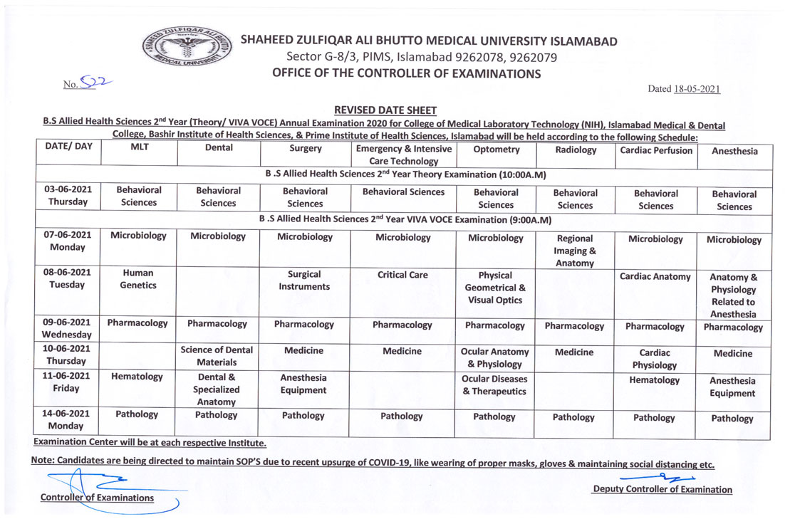 Revised Date Sheet - BS AHS 2nd Year Annual Examination 2020