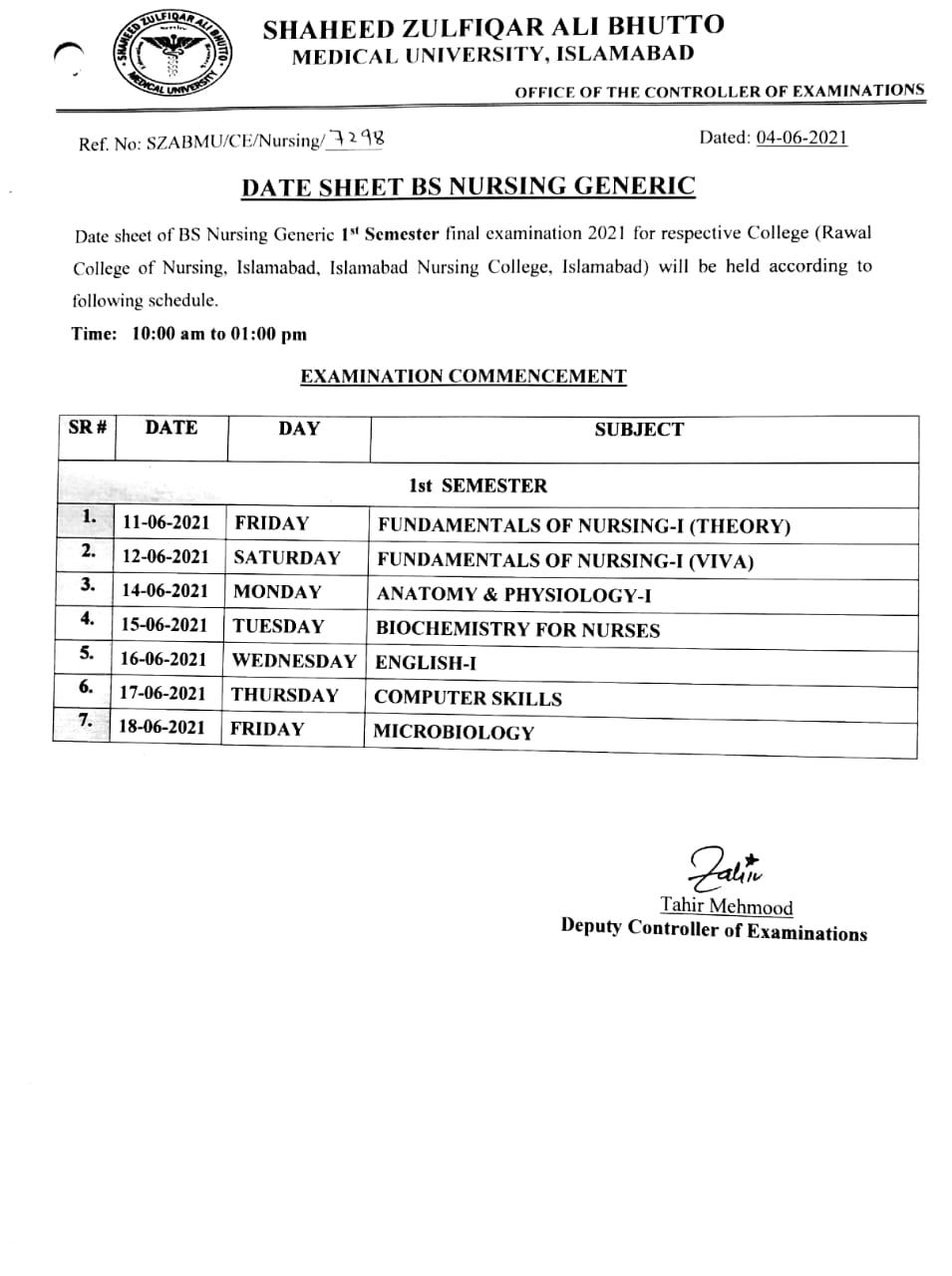 Date Sheet - BS Nursing Generic