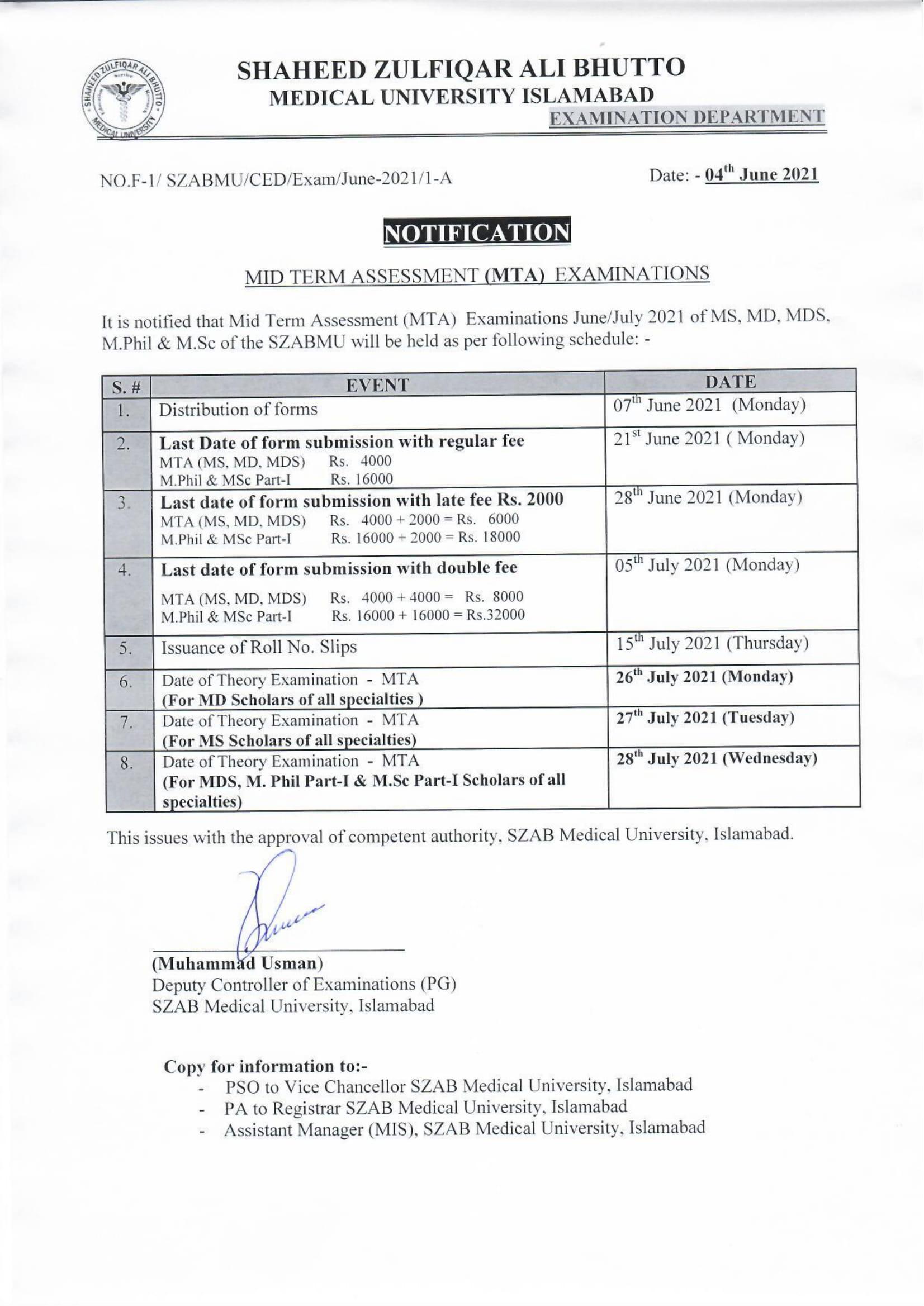 Notification of MTA Examination of SZABMU June / July 2021